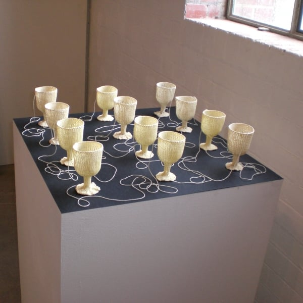 Lada Dedic Twine Glasses; Missing in Action Knitted object, 2007-2009 Dimensions variable