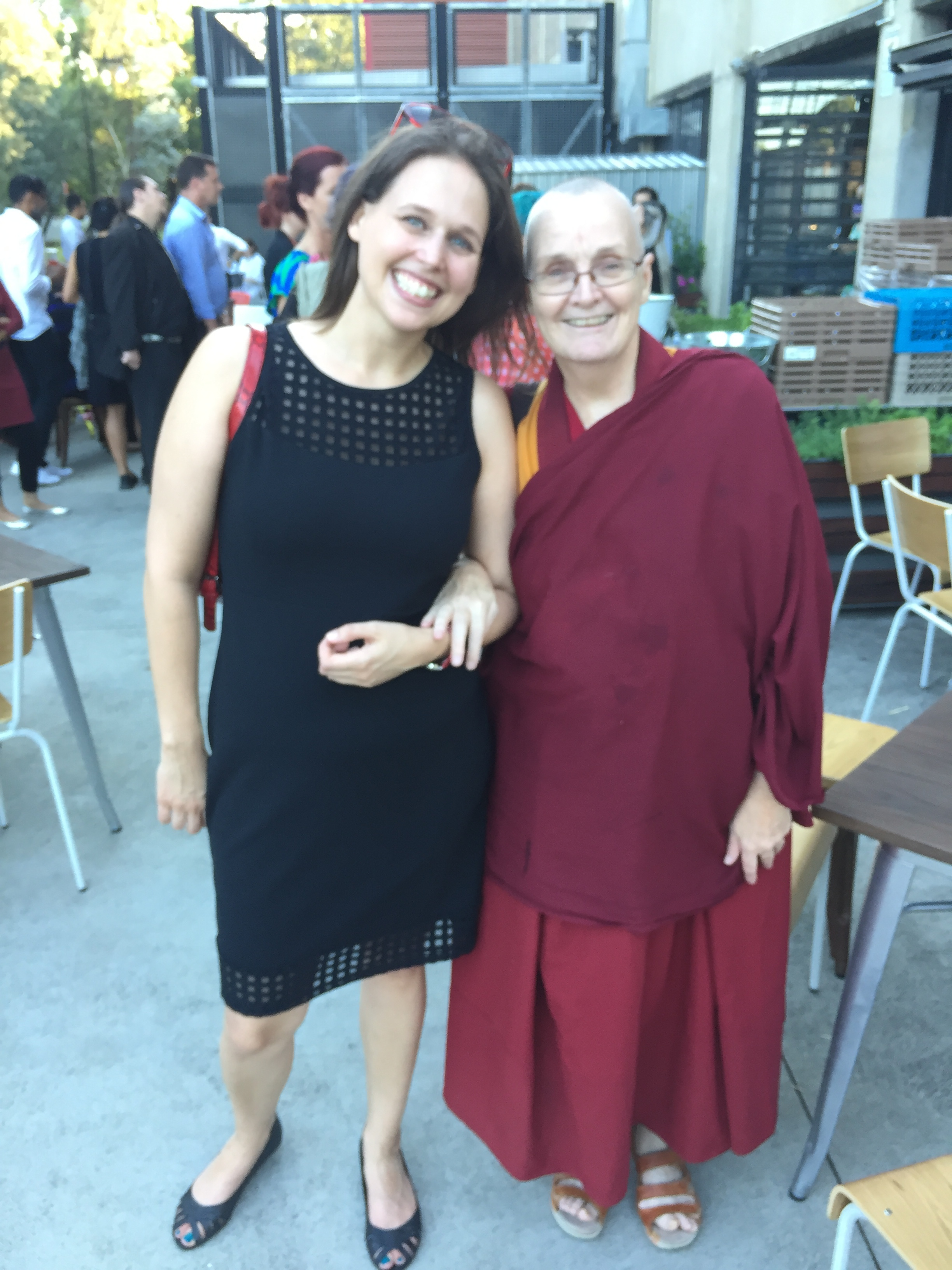 Finalist Lada Dedic with Ven. Thubten Chokyi at the opening of The 64th Blake Prize, Casula Powerhouse Arts Centre, 2016