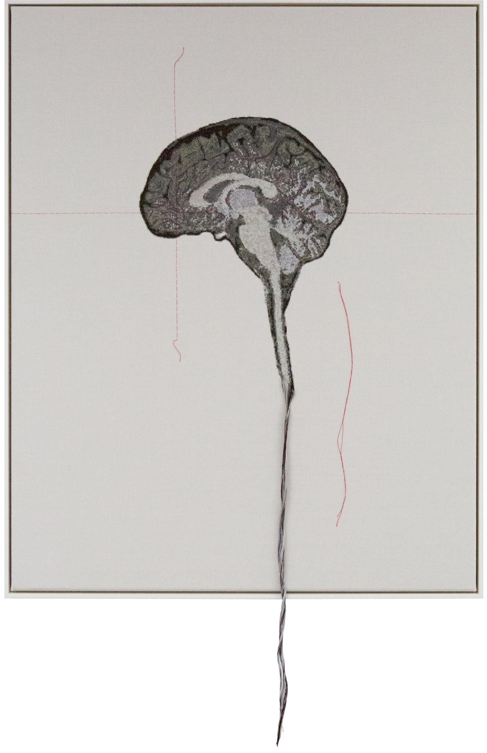 Lada Dedic Self Portrait; Artist's Brain Stranded cotton on aida cloth, 2016 1250 x 790 mm  Stitching time: 170 hours    photo Katrina James