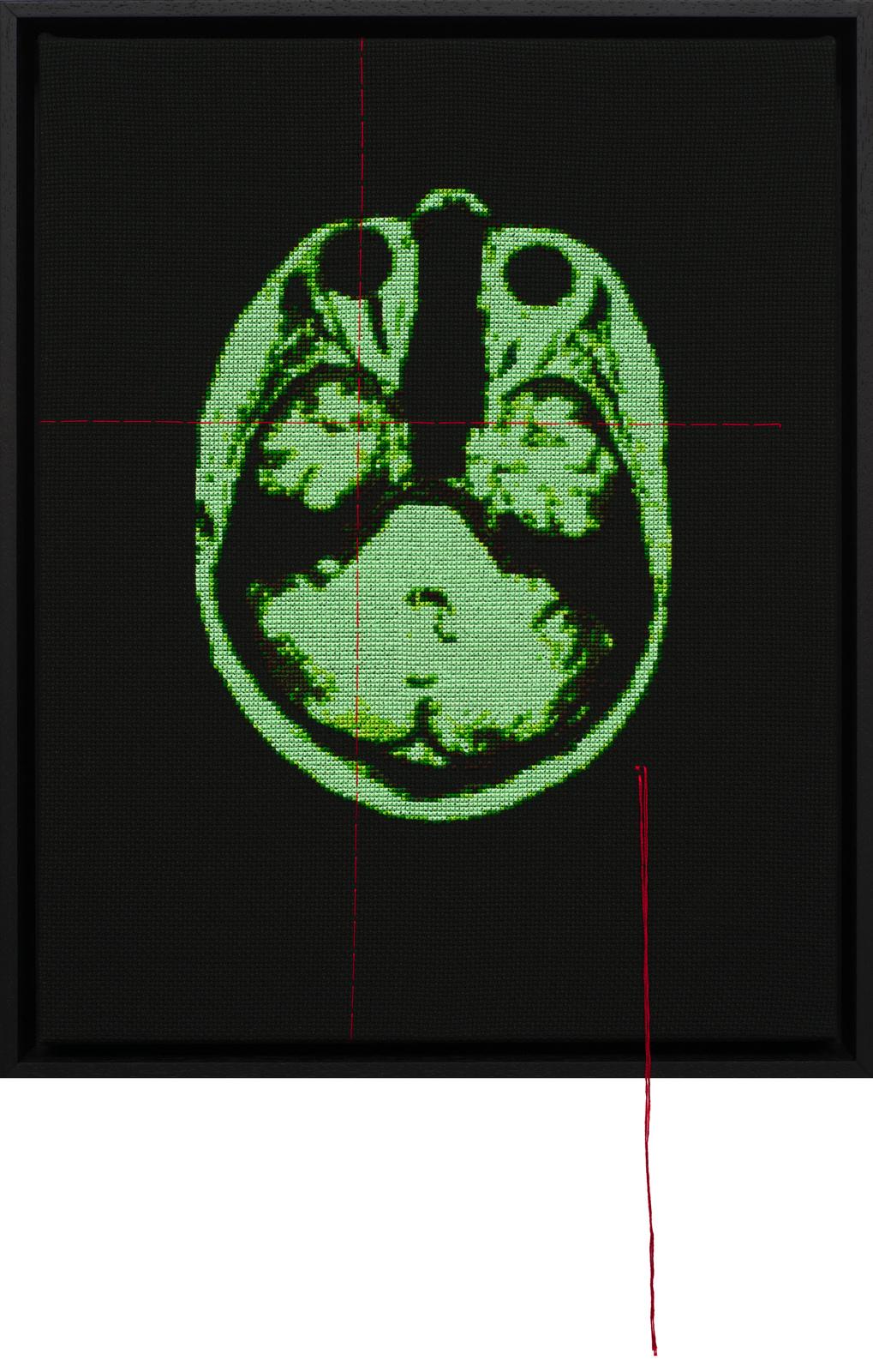 Lada Dedic Self Portrait; Artist's Brain Stranded cotton on aida cloth, 2017 425 x 345 mm  Stitching time: 74 hours 35 minutes    photo Bob Newman