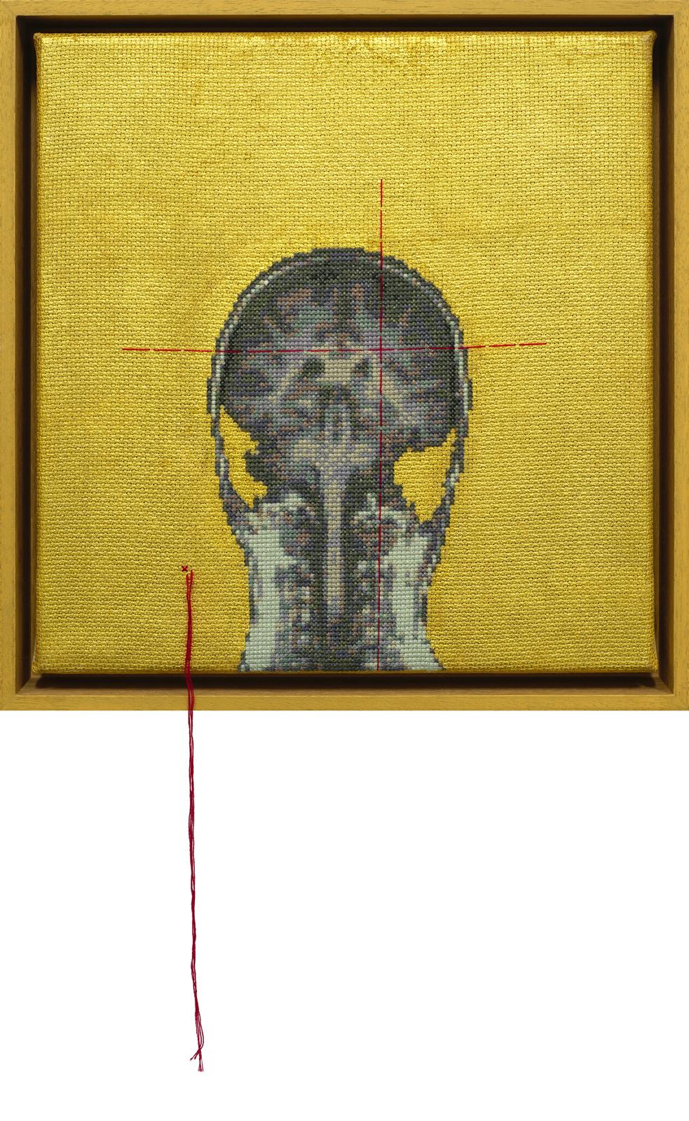 Lada Dedic Self Portrait; Artist's Brain Stranded cotton, 23 karat gold on aida cloth, 2017 300 x 290 mm  Stitching time: 43 hours 55 minutes    photo Bob Newman