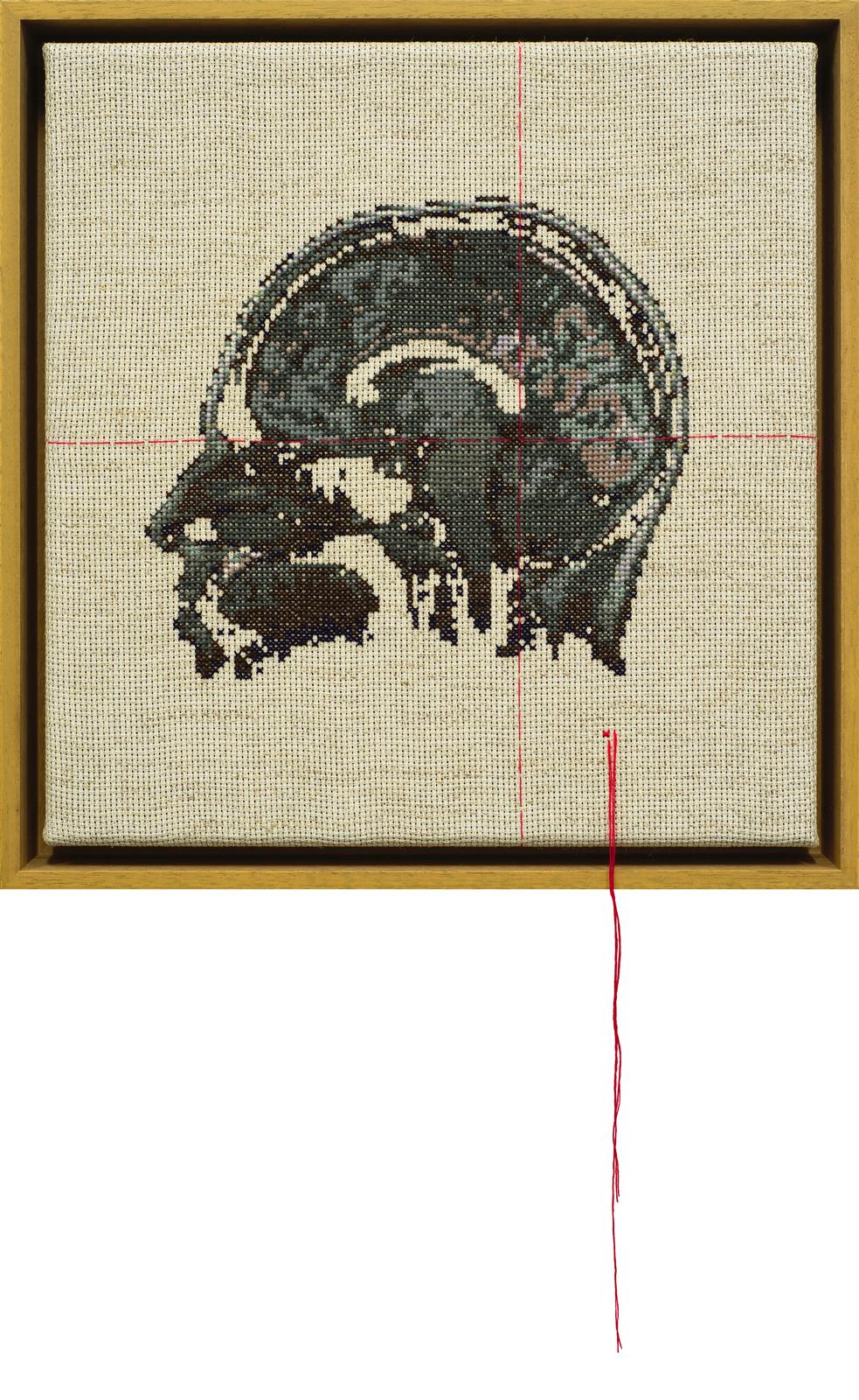 Self Portrait; Artist's Brain Stranded cotton on aida cloth, 2010 300 x 290 mm    photo Bob Newman