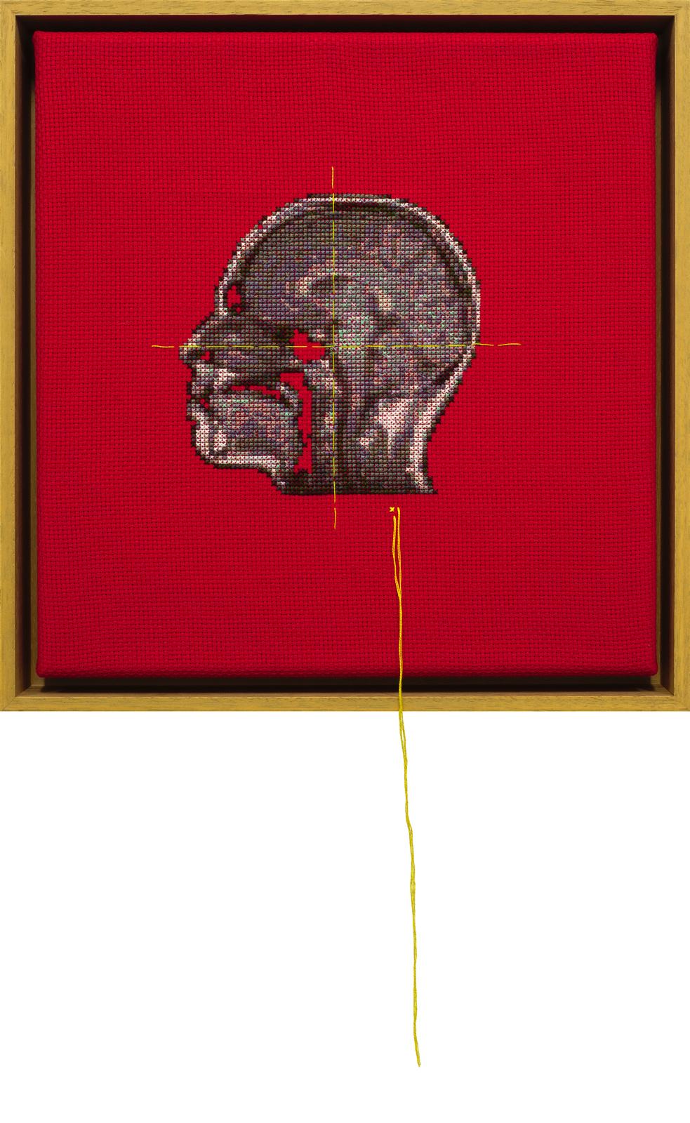 Lada Dedic Self Portrait; Artist's Brain Stranded cotton on aida cloth, 2015 300 x 290 mm  Stitching time: 43 hours    photo Bob Newman