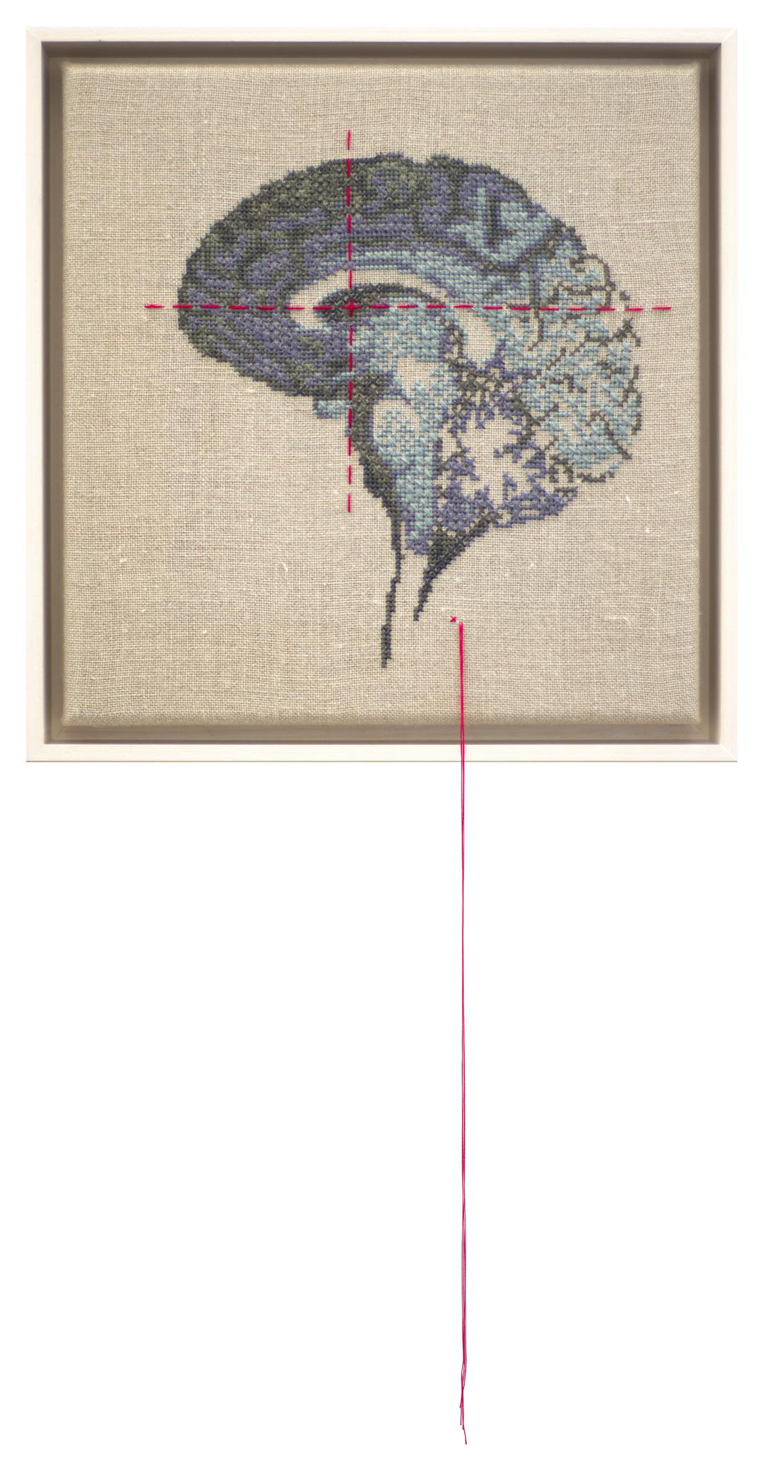 Self Portrait; Artist's Brain Stranded cotton on linen, 2018 300 x 290 mm  Stitching time: 30 hours    photo Bob Newman