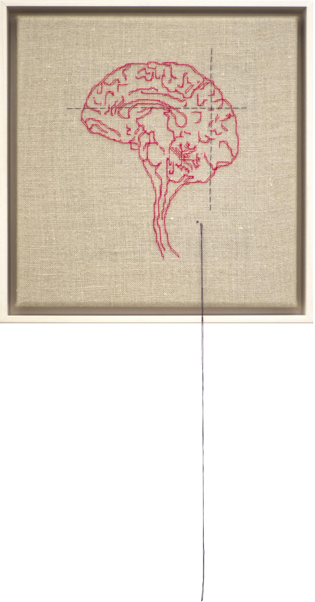 Self Portrait; Artist's Brain Stranded cotton on linen, 2018 300 x 290 mm   photo Bob Newman