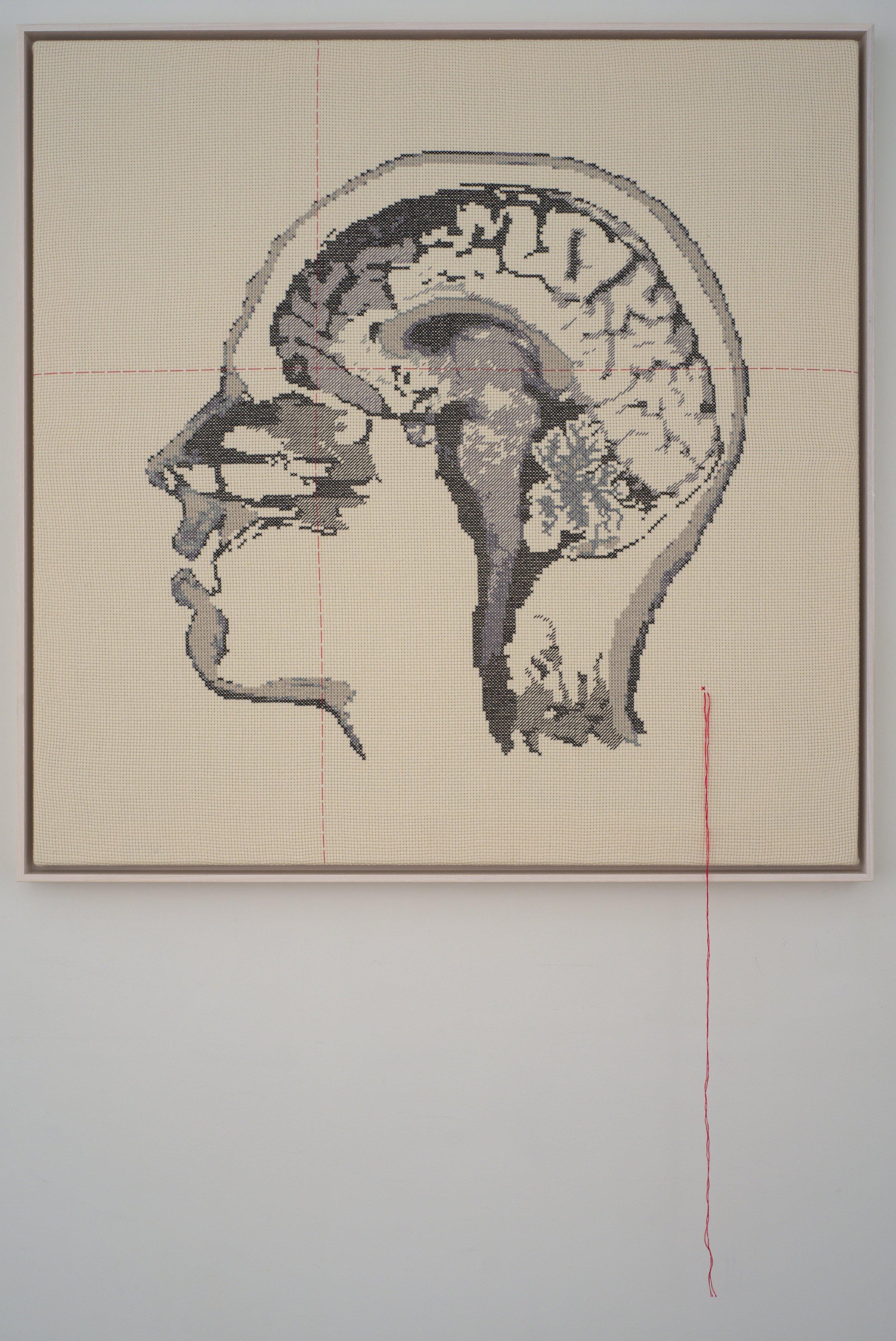Lada Dedic Self Portrait; Artist's Brain Stranded cotton on cotton , 2018 790 x 790 mm   photo Bob Newman