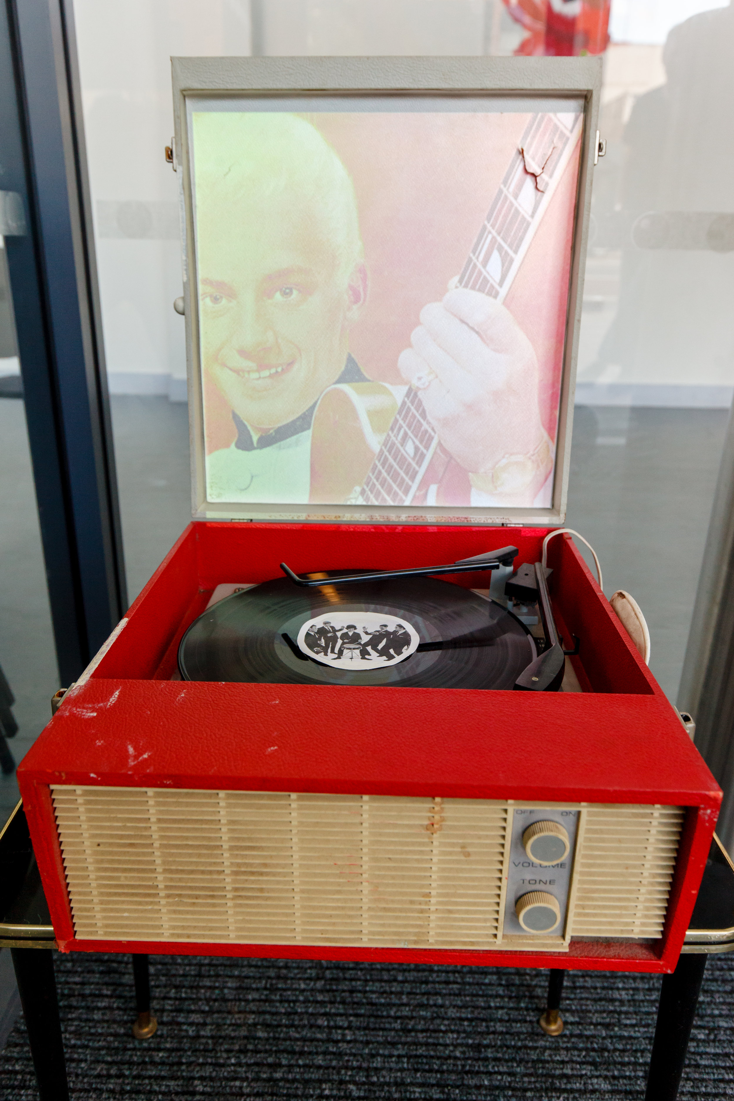 The Ghost-in-the-machine Man - A dansette record play with moving image projected into the lid showing footage montaging sixties horror films that Joe Meek loved with images of Heinz, the wannabe pop star that Joe Meek created and fell in love with and whose bleached hair was a reference to the film 'Day of the Dead'.