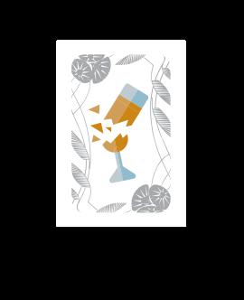 CARTE COUPE BRISÉE :  S'il s'agit d'une Carte Coupe brisée : écartez-là des autres cartes Coupe de champagne révélées afin qu'elle soit bien visible. Toutes les Cartes Coupes brisées forment ainsi un petit paquet. Si vous tombez sur la dernière Carte Coupe brisée (il y en a une par joueur), l'équipe des Rabats-joie remporte immédiatement la partie.