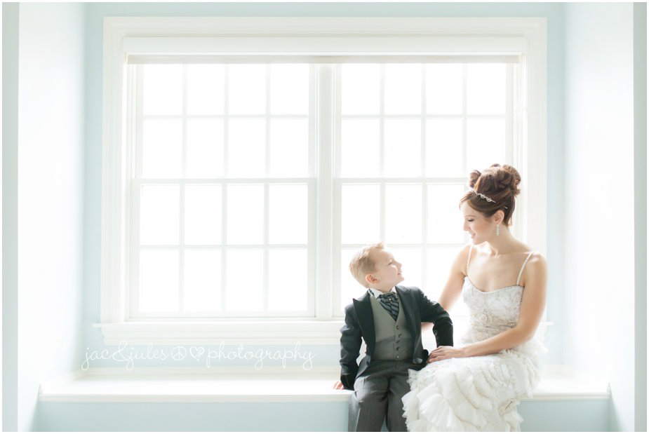 jacnjules photographs bride having a moment with her son before she says I do.