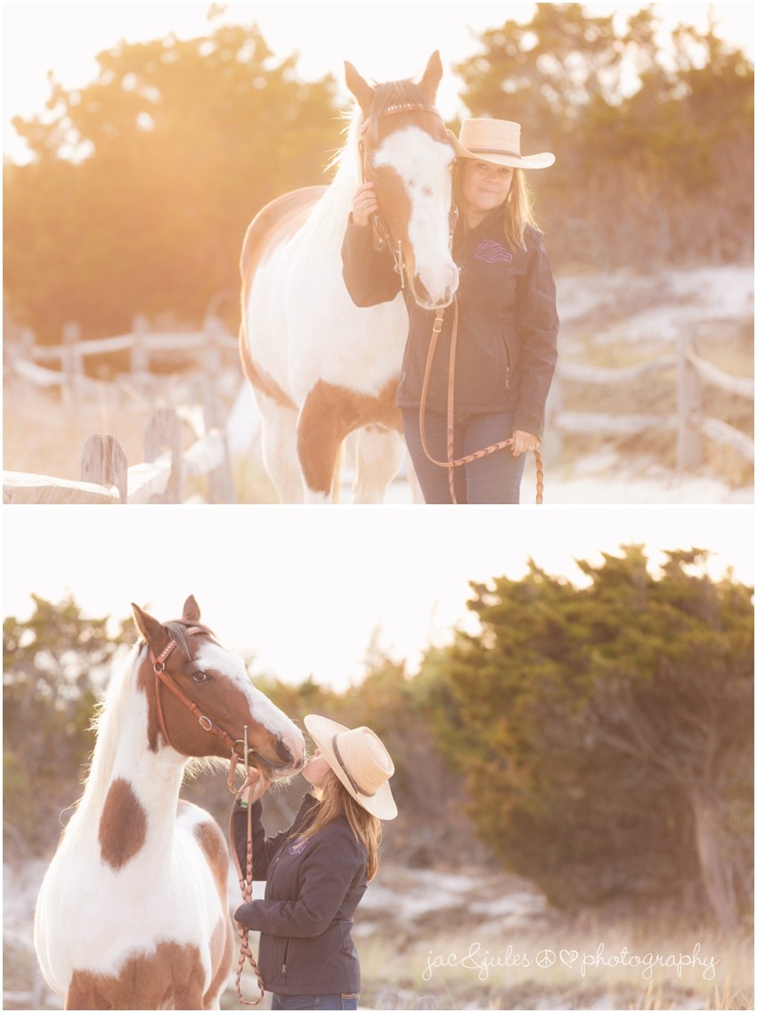 jacnjules photographs boho style horse and owner at island beach state park in a modern way