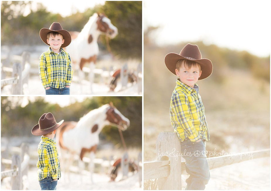jacnjules cowboy styled beach photos with children and horse