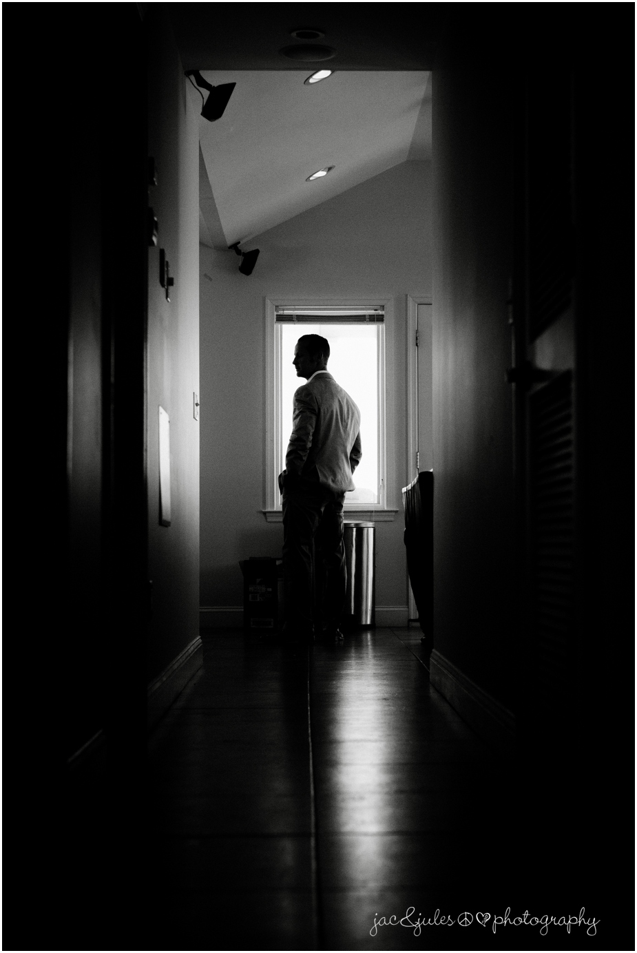 jacnjules photographs a groom getting ready at The State Room in LBI