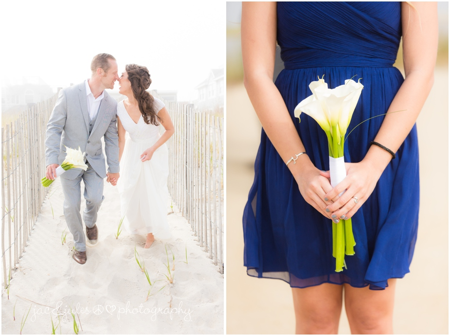 jacnjules photograph the bride and groom on their wedding day on the beach in LBI