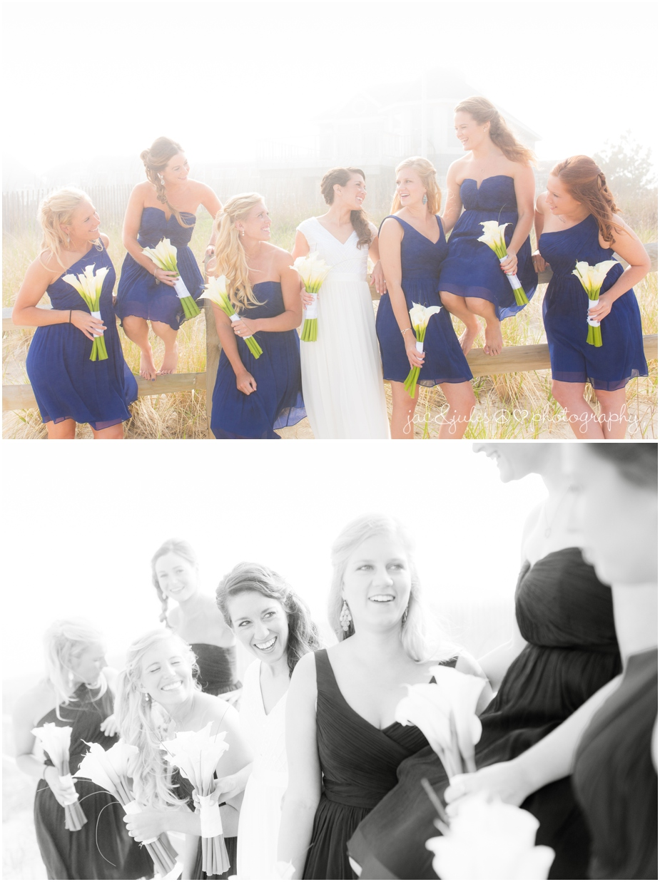 jacnjules photograph the bridesmaids on wedding day on the beach in LBI