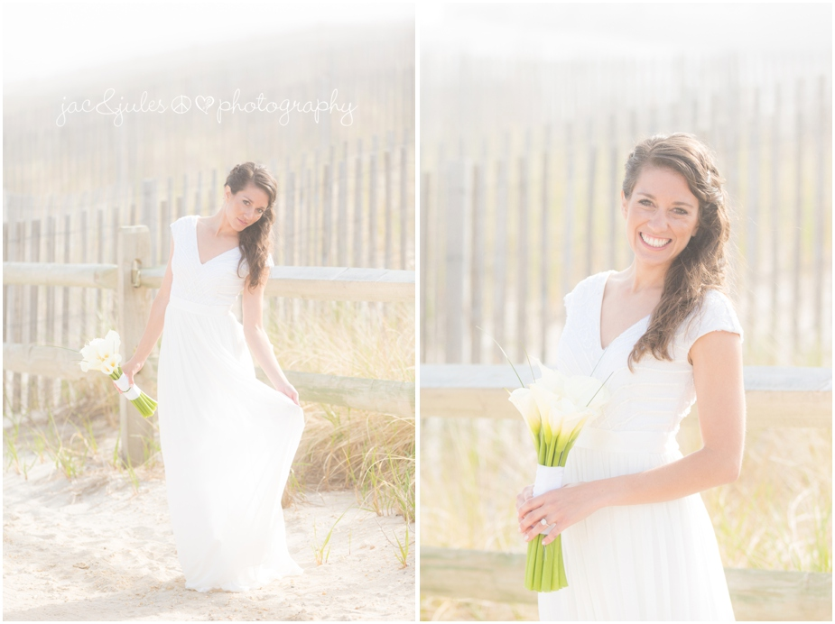 jacnjules photograph the bride on wedding day on the beach in LBI