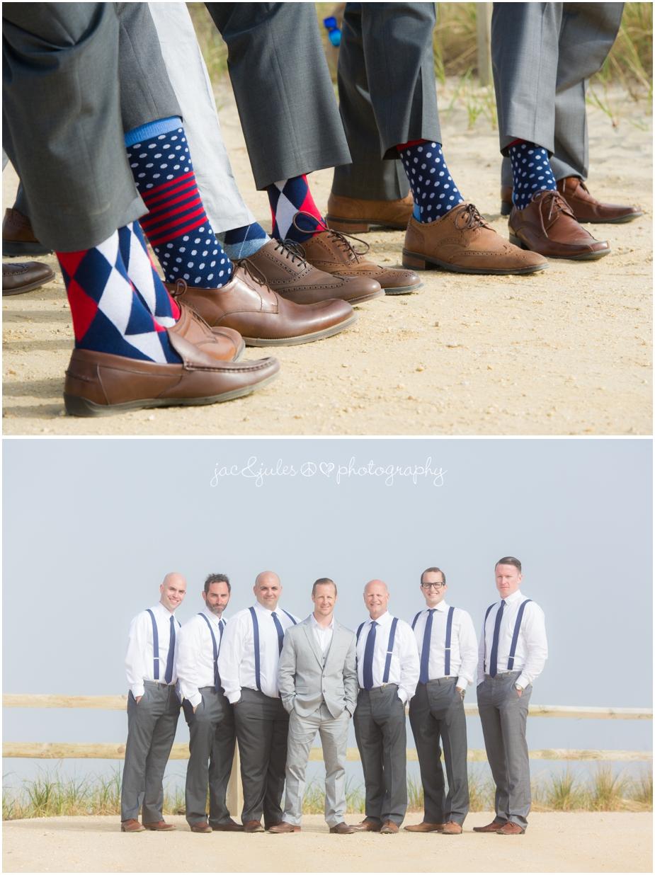 jacnjules photographs groomsmen on the beach in LBI