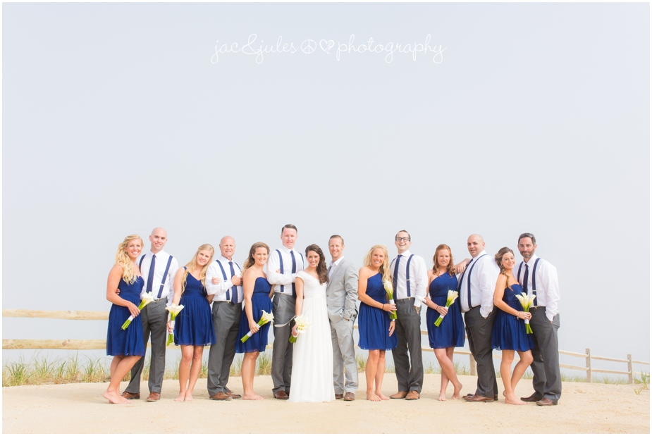 jacnjules photographs bridal party on the beach in LBI
