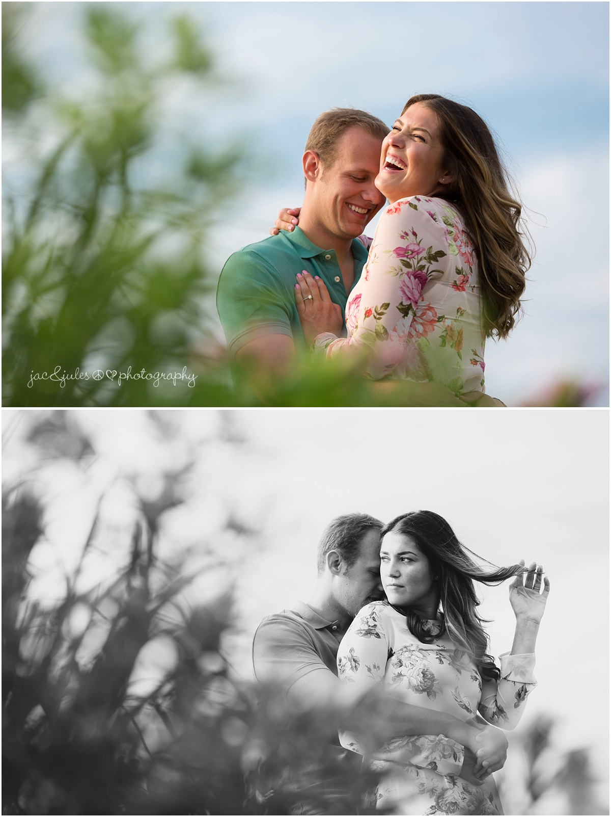 engaged couple, girl playing with hair and laughing.