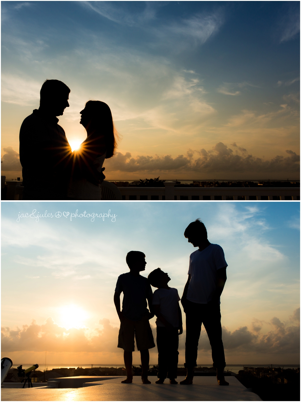 jacnjules photographs a fun family during sunset in LBI (Long Beach Island)