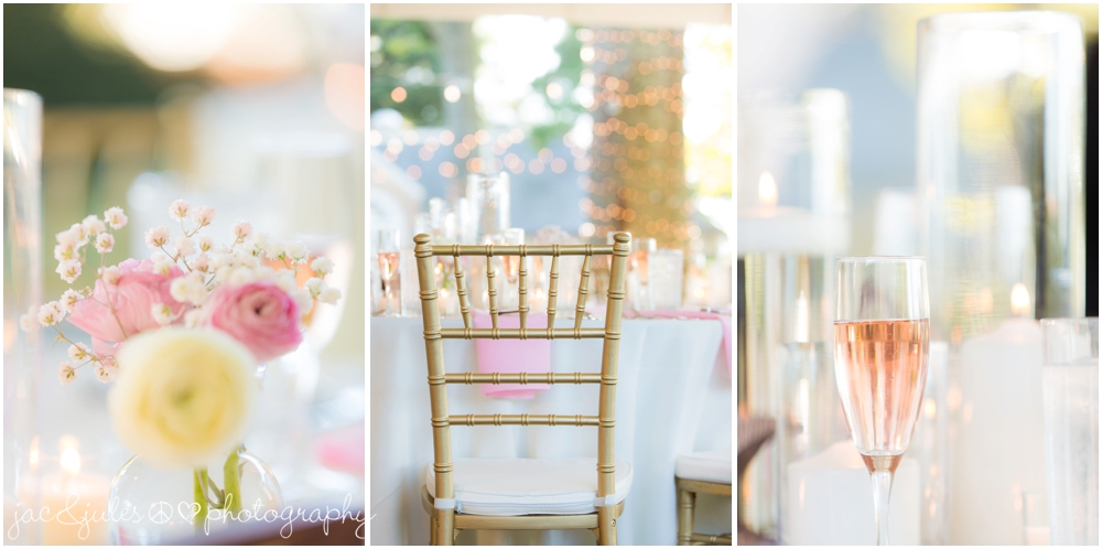 jacnjules photographs elegant pink, white and gold reception details at drumore estate in pa