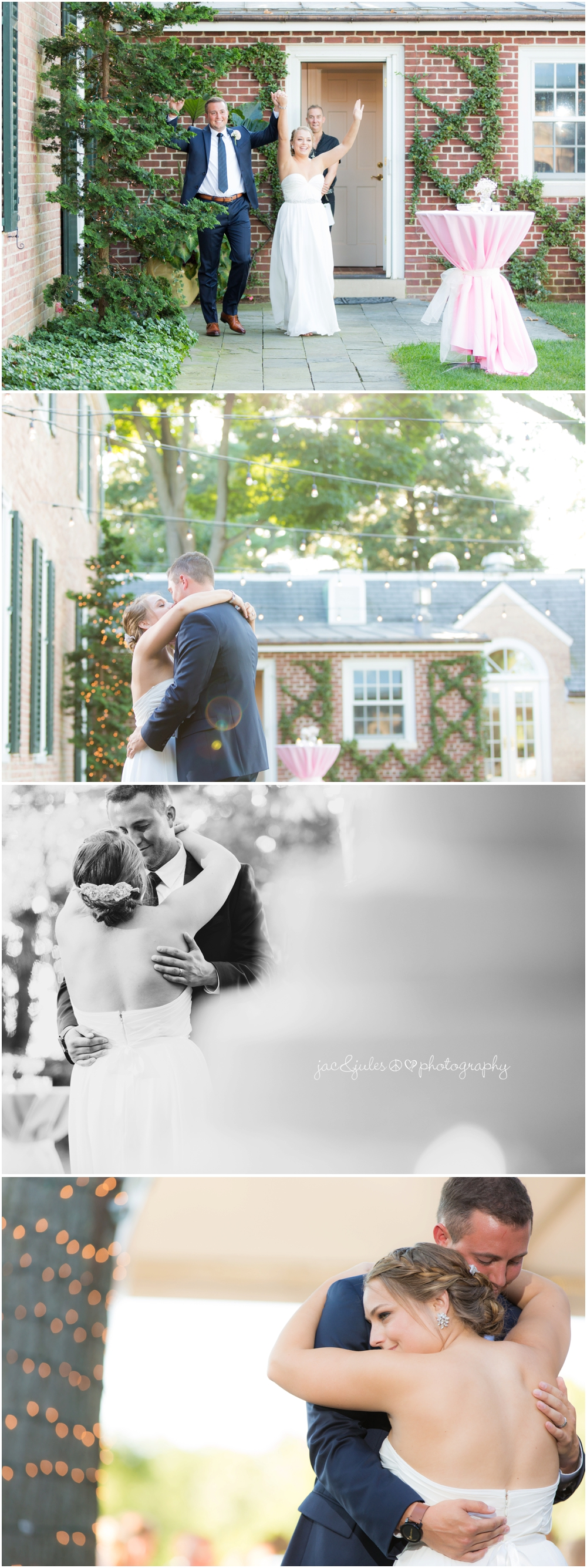 jacnjules photographs first dance outdoors at drumore estate in pa with string lights