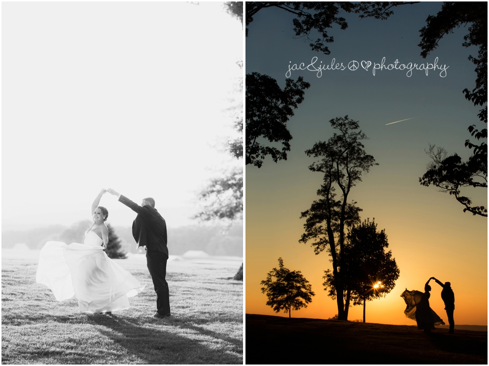 jacnjules photographs bride and groom during sunset at drumore estate in pa