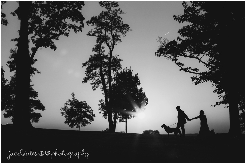 jacnjules photographs bride and groom with their dog during sunset at drumore estate in pa