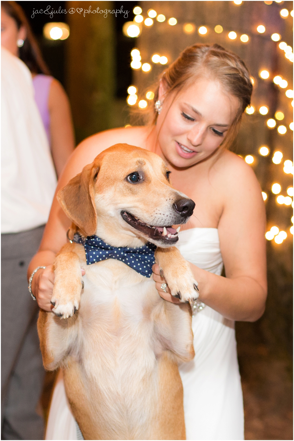 jacnjules photographs a bride with her dog at a wedding reception at drumore estate in pa