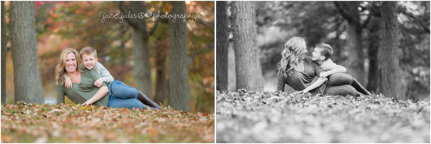mom and son in the fall leaves