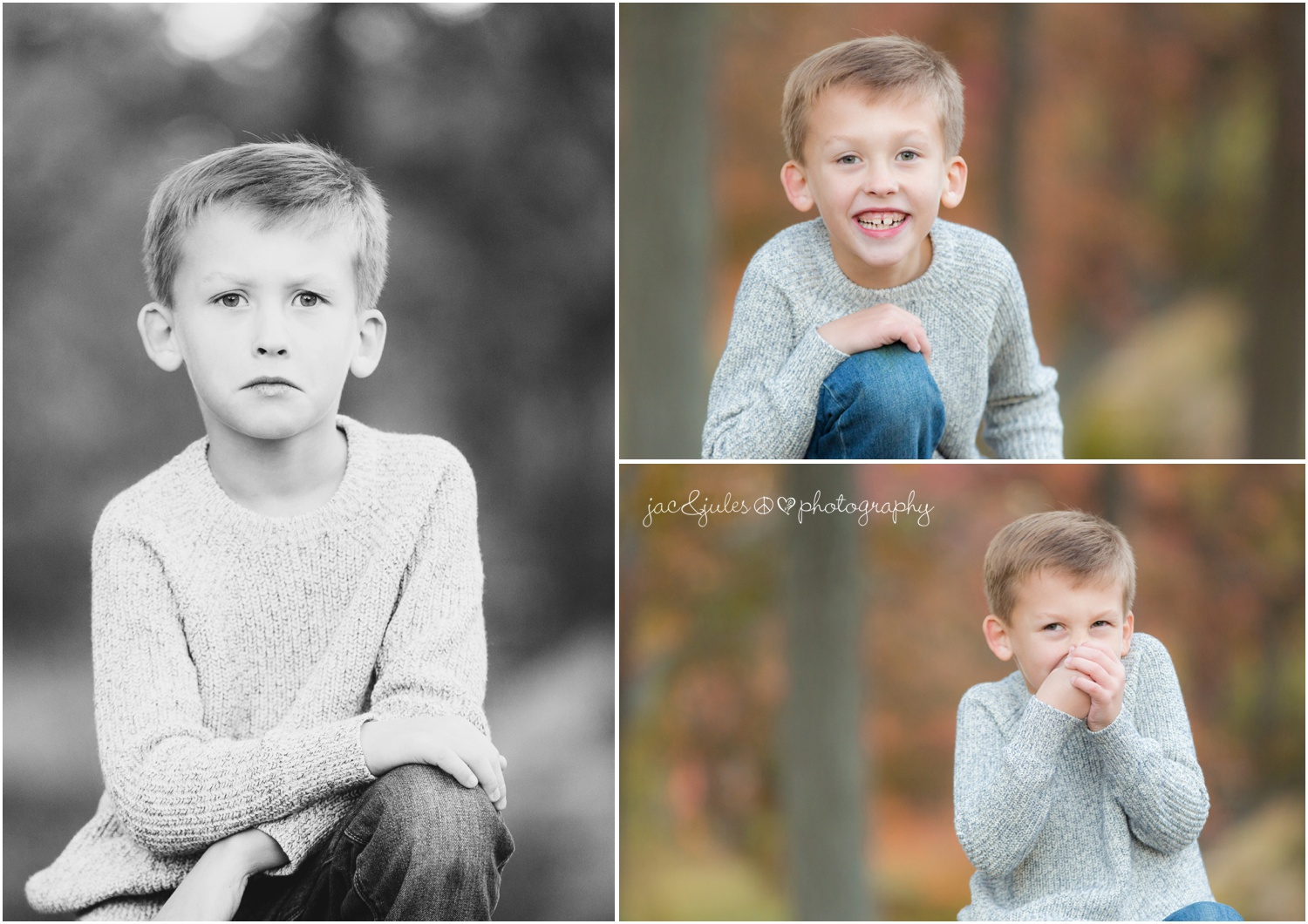 little boy serious, smiling, and candid in the fall colors