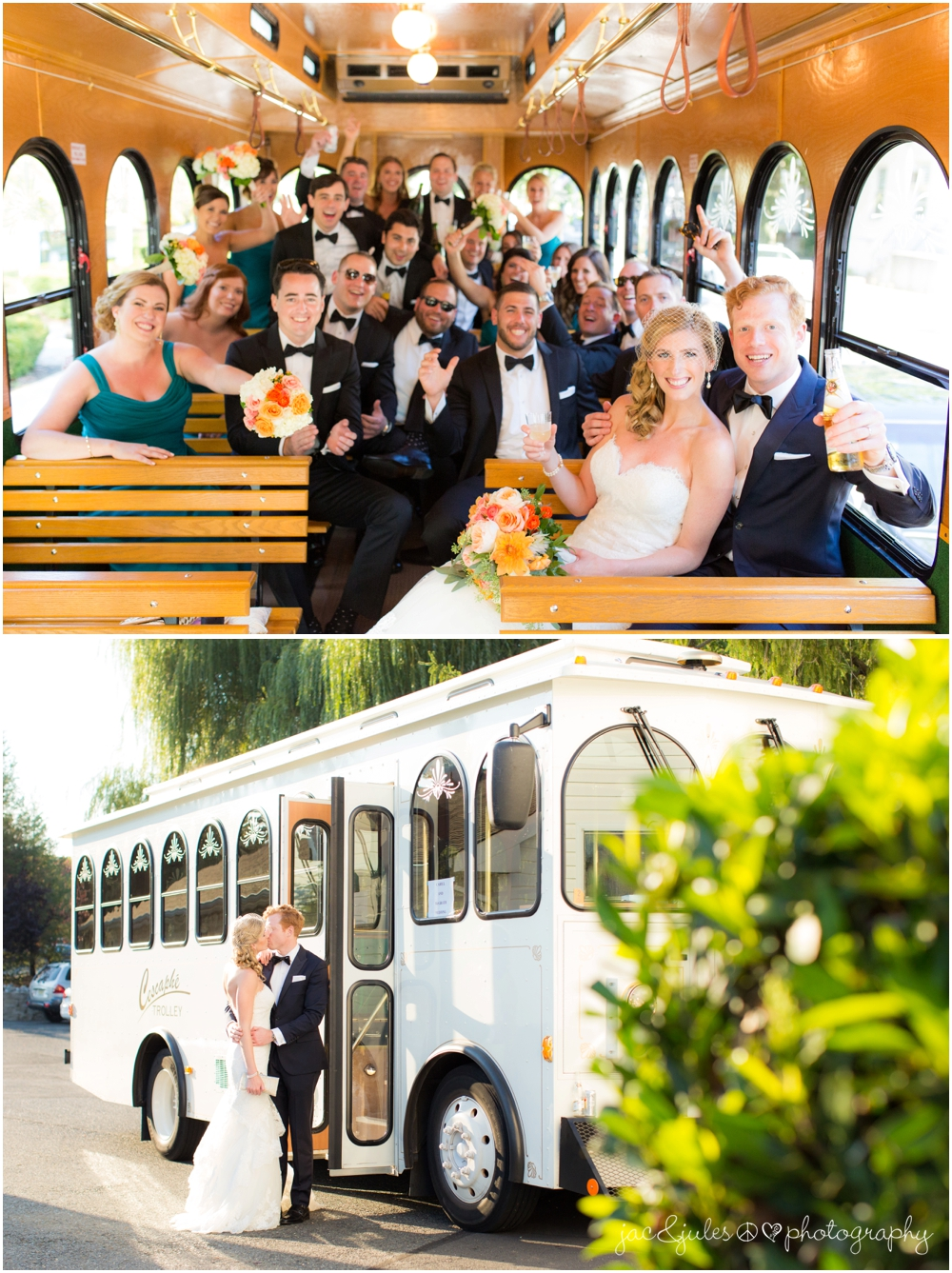 jacnjules photographs bridal party on a trolly in princeton nj