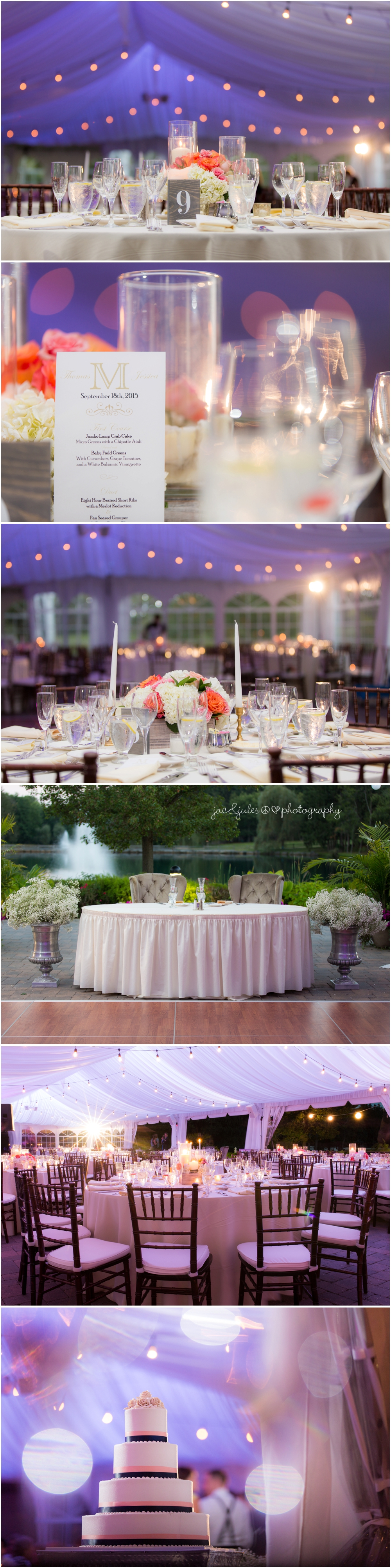 jacnjules photographs wedding reception details at windows on the water at frogbridge