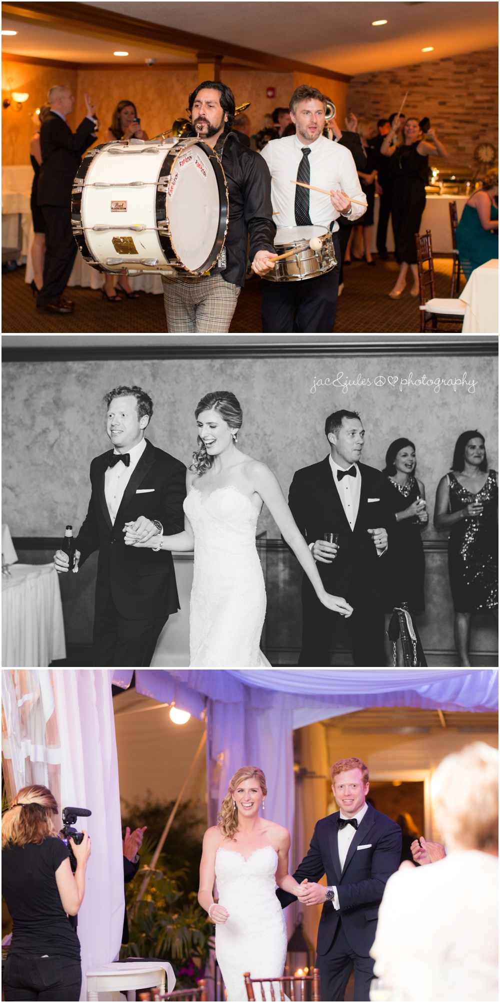 jacnjules photographs wedding entrances and first dance at windows on the water at frogbridge
