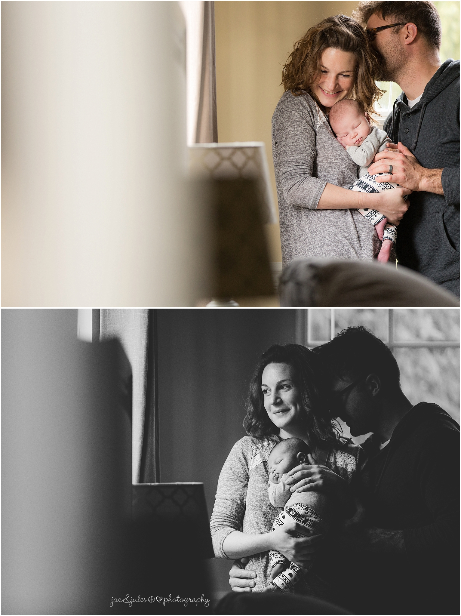 jacnjules photographs a newborn baby and her parents in their home in toms river, nj