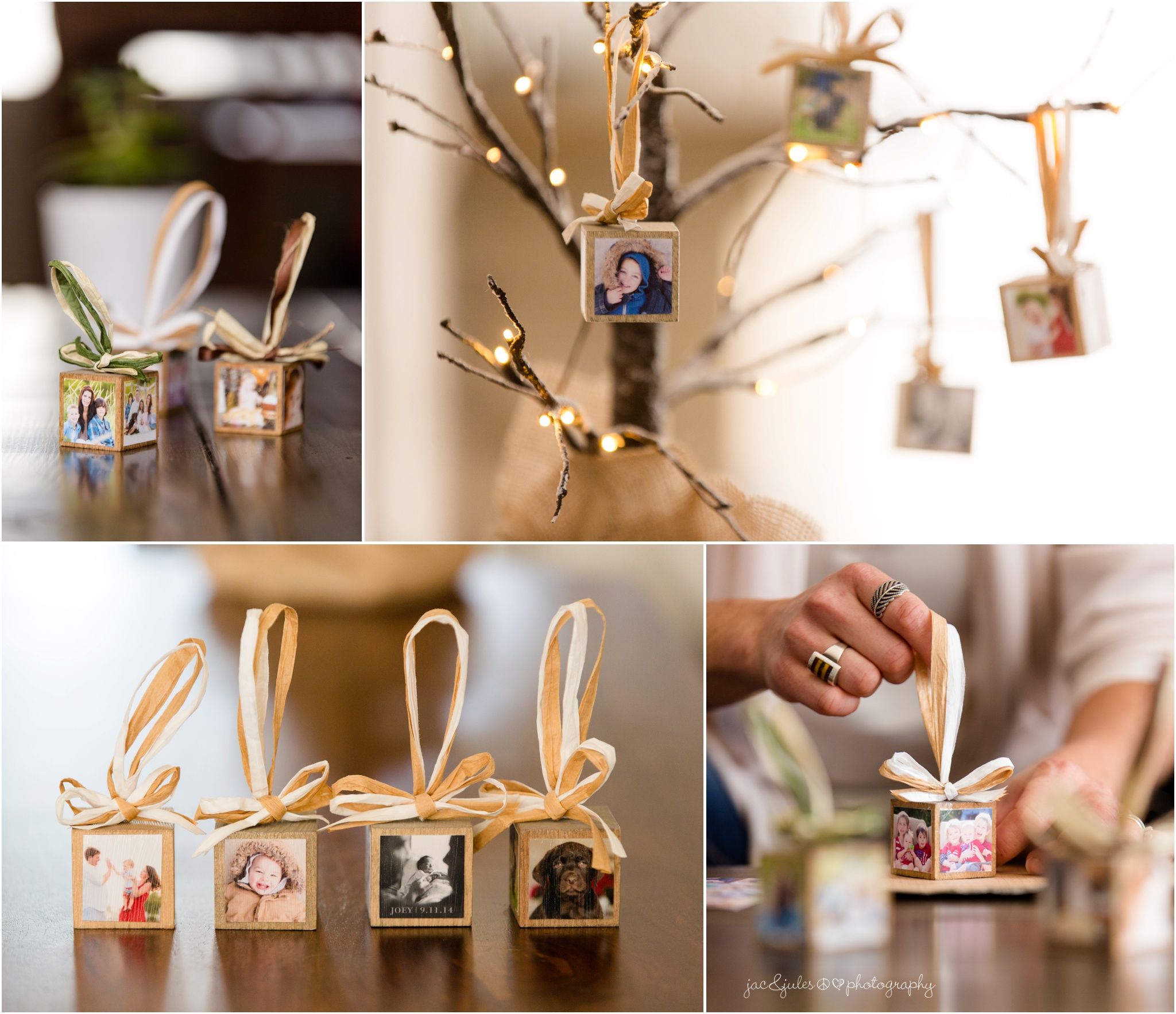 completed diy project wooden block photo ornaments