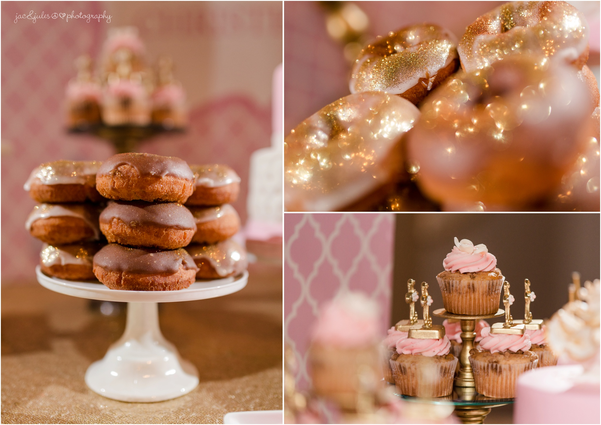 gold and pink donuts.