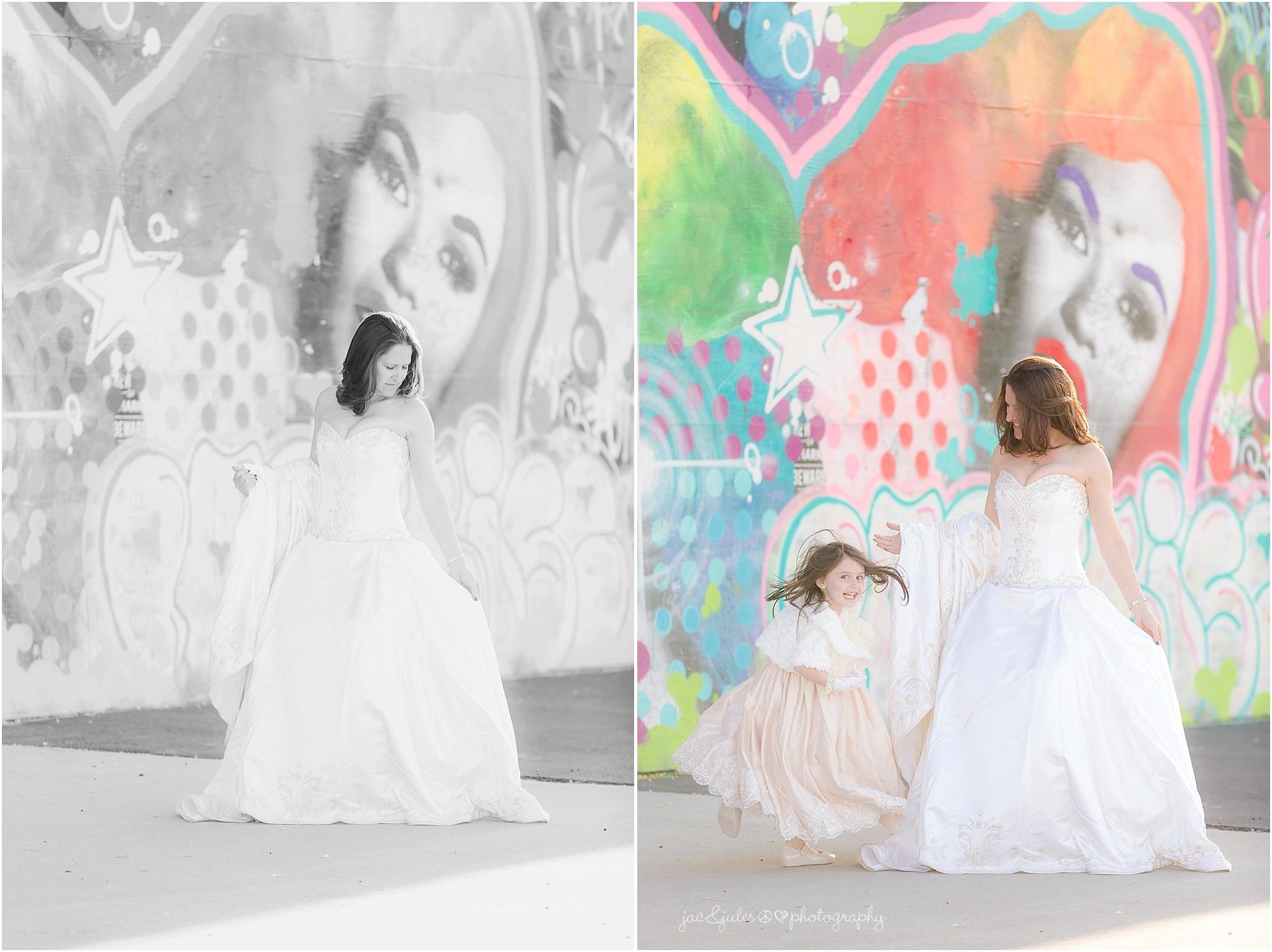 jacnjules photographs a bride near graffiti in Asbury Park NJ