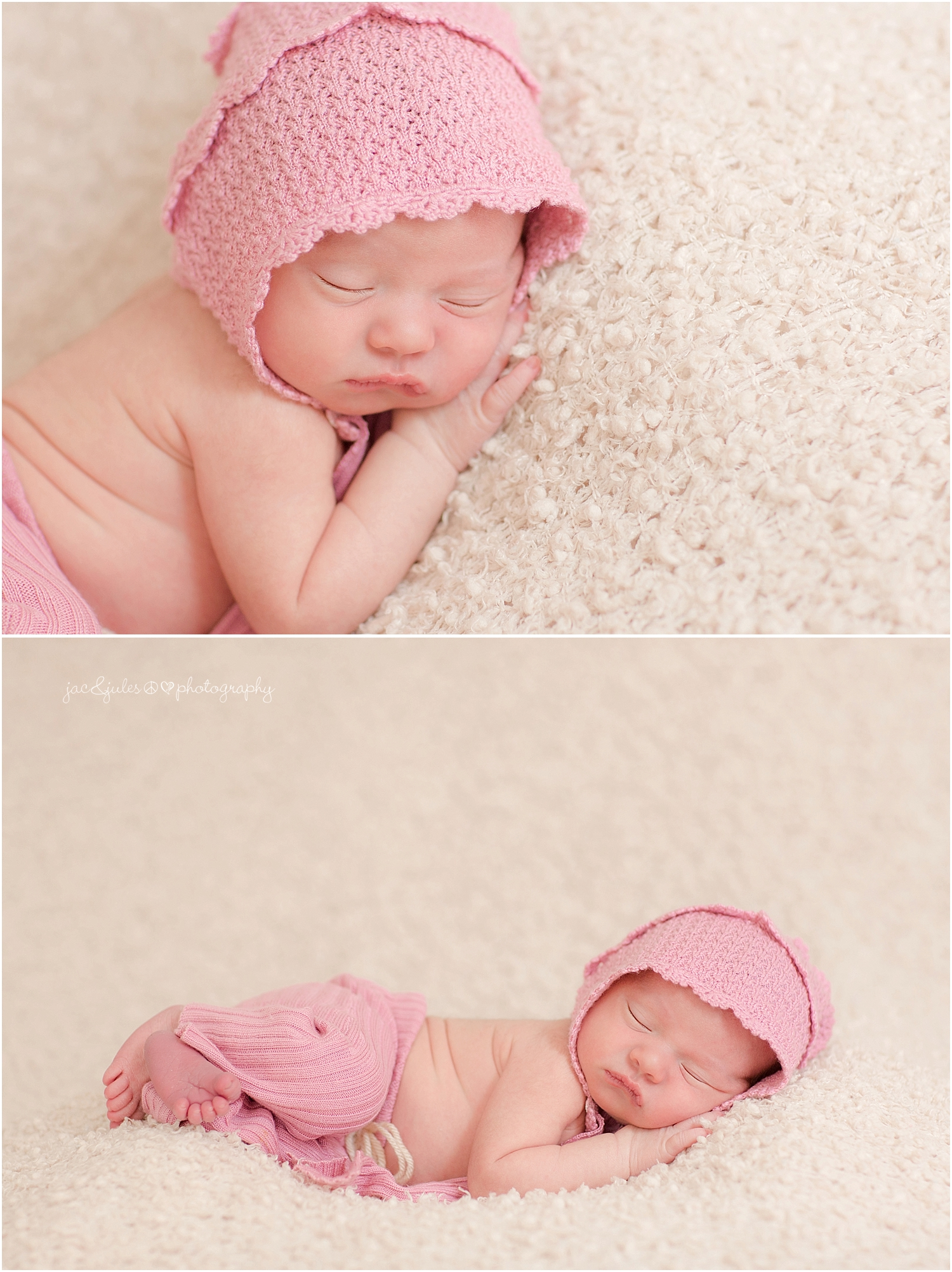 jacnjules photographs newborn baby girl in a bonnet in their home in nnj