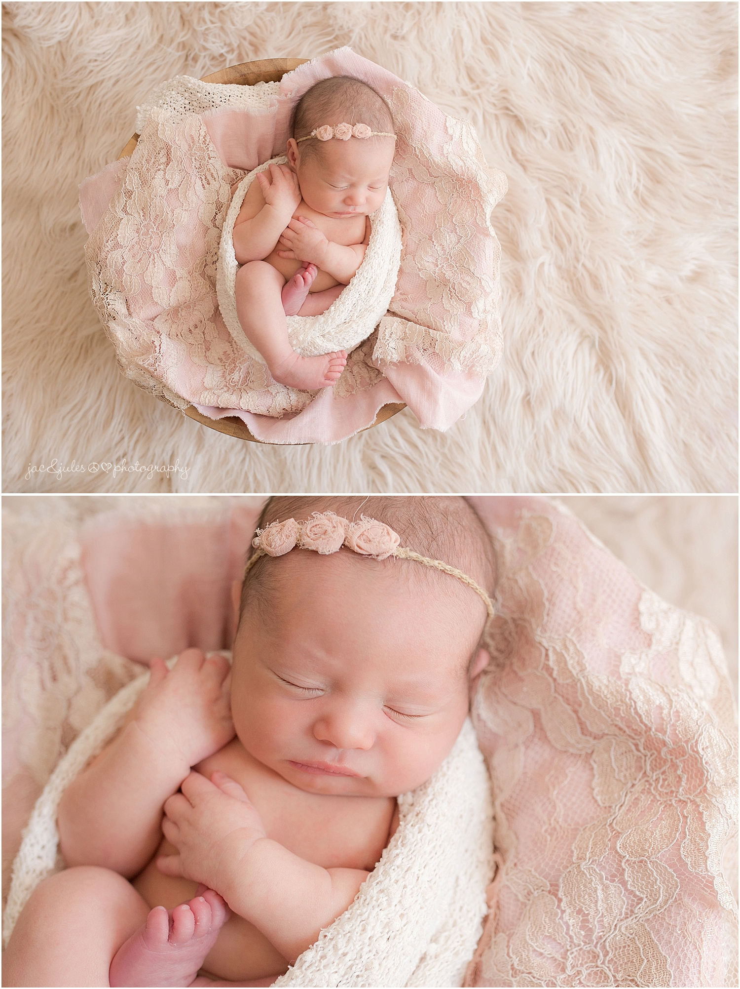 jacnjules photographs newborn baby girl in an egg wrap in their home in nnj