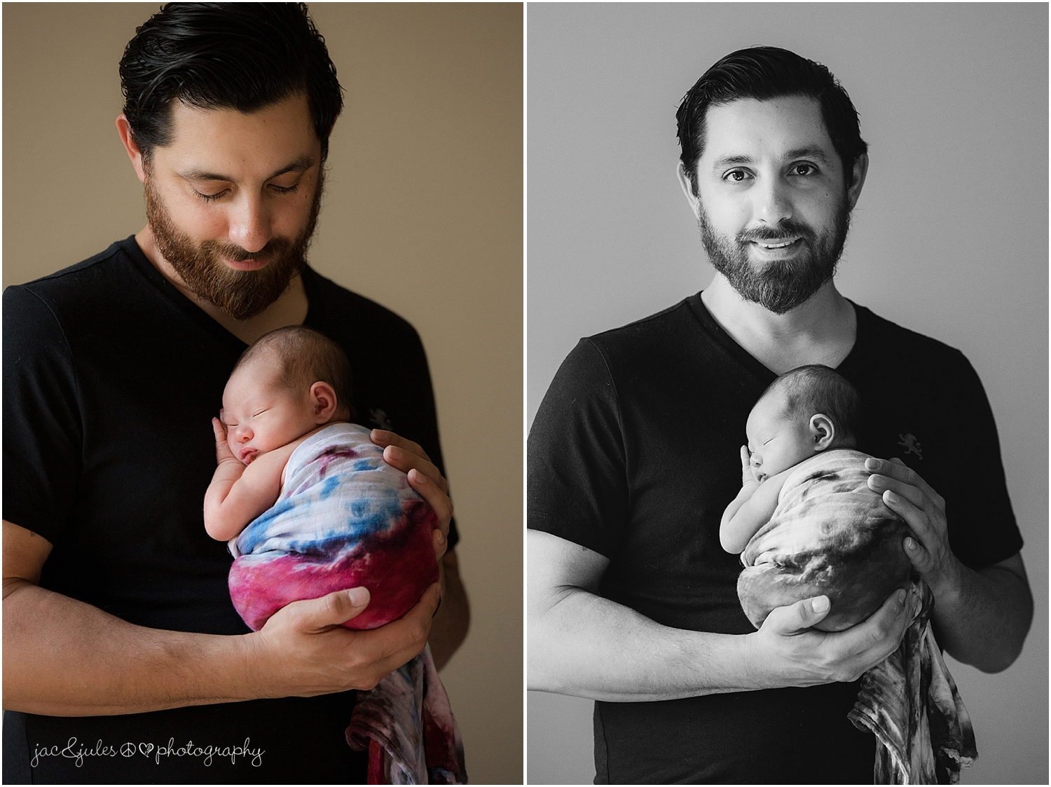jacnjules photographs newborn baby girl and dad in their home in nnj