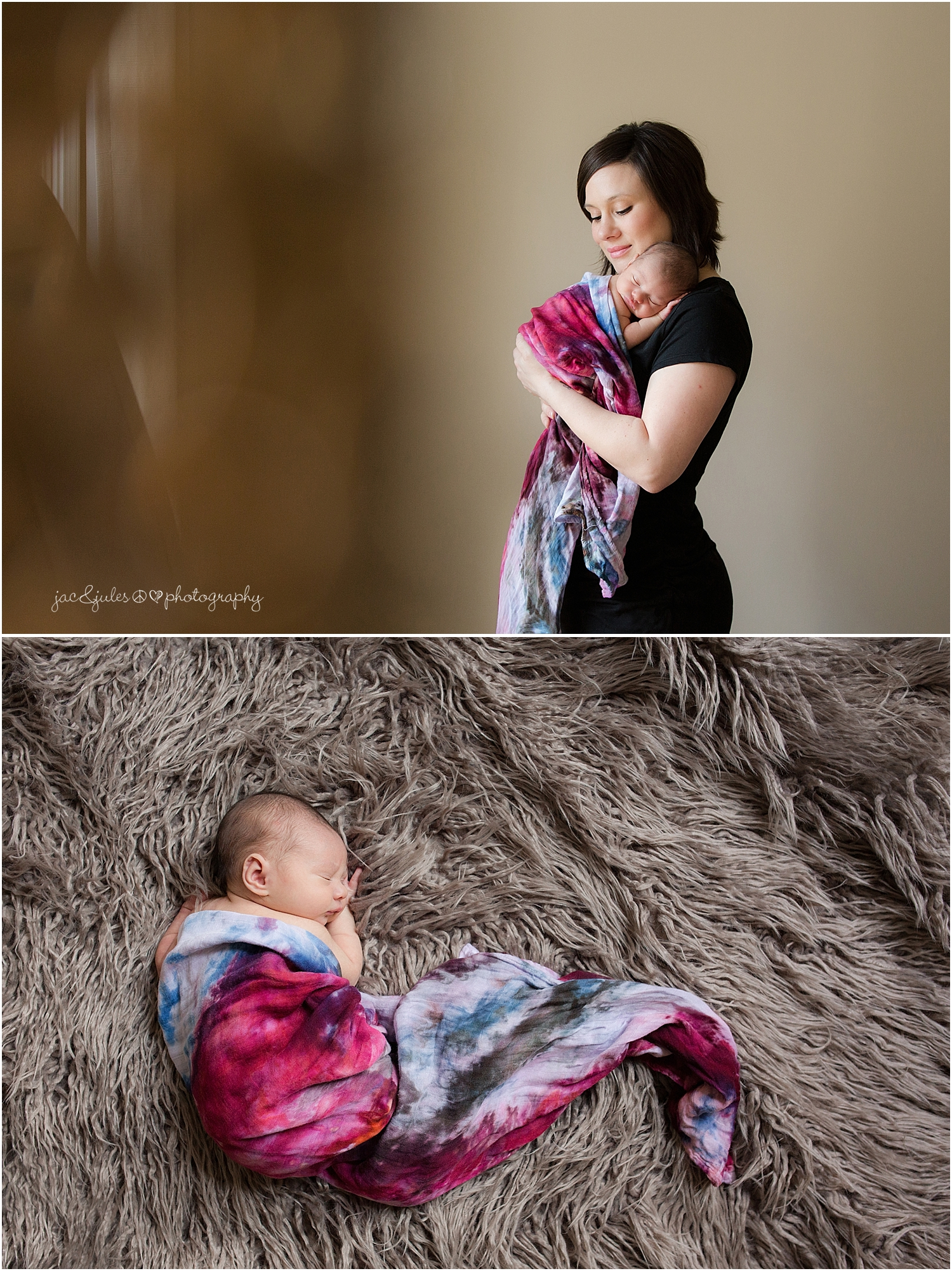 jacnjules photographs newborn baby girl and mom in their home in nnj
