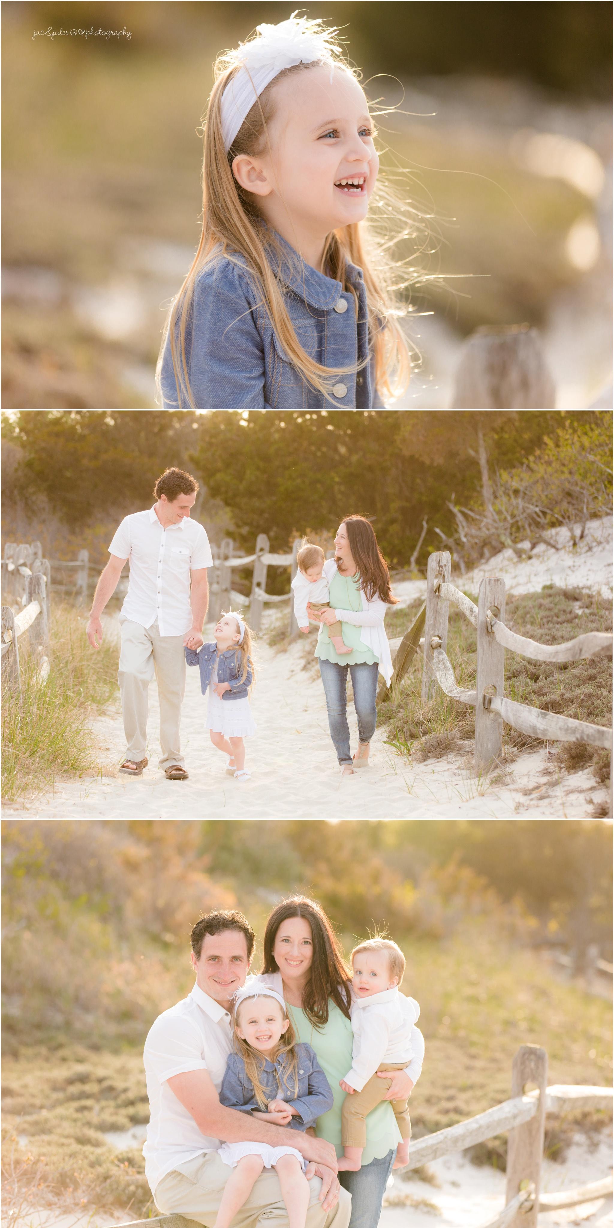 family walking on beach trail at island beach state park
