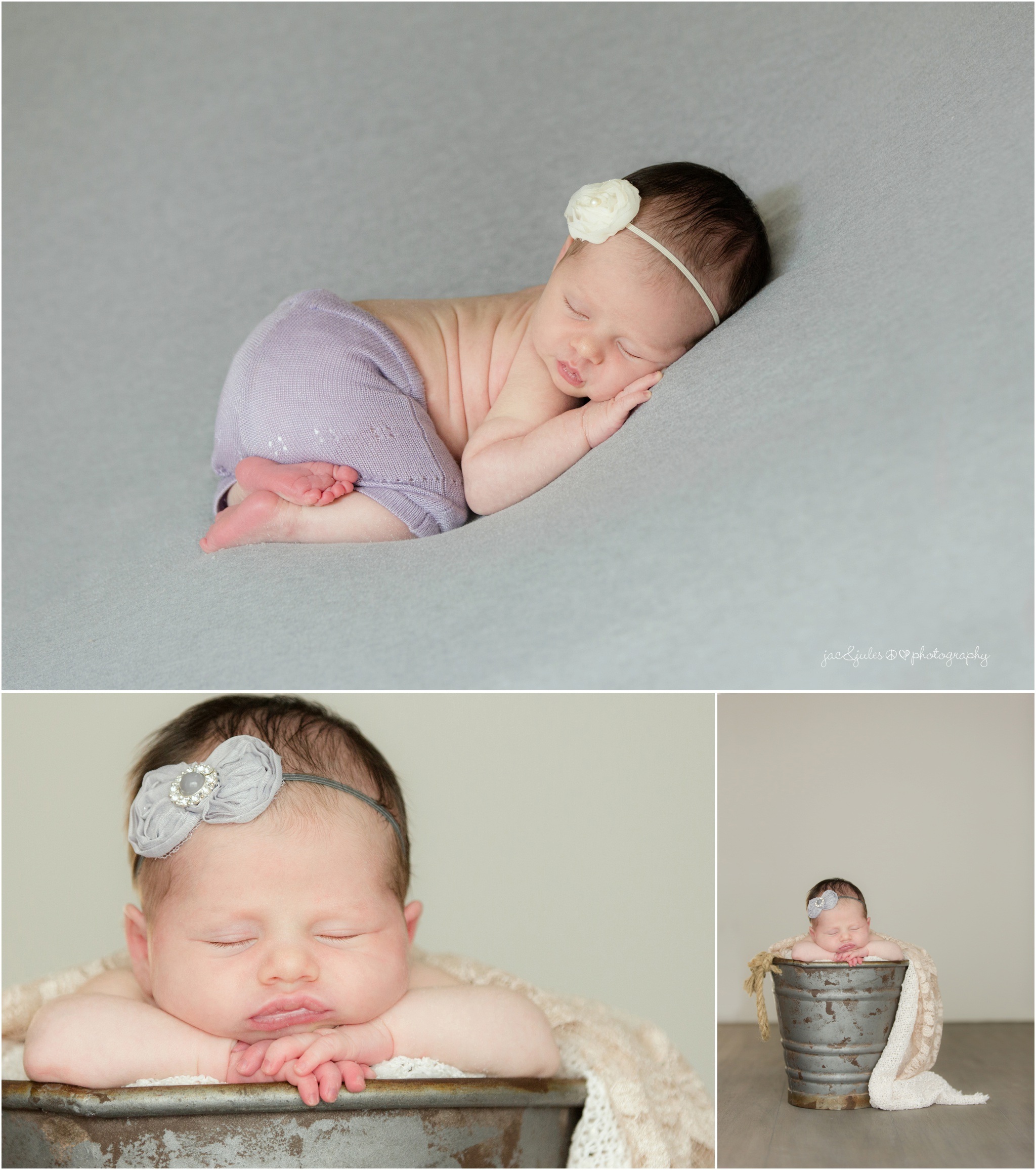 newborn baby girl in lavender shorts and metal pail