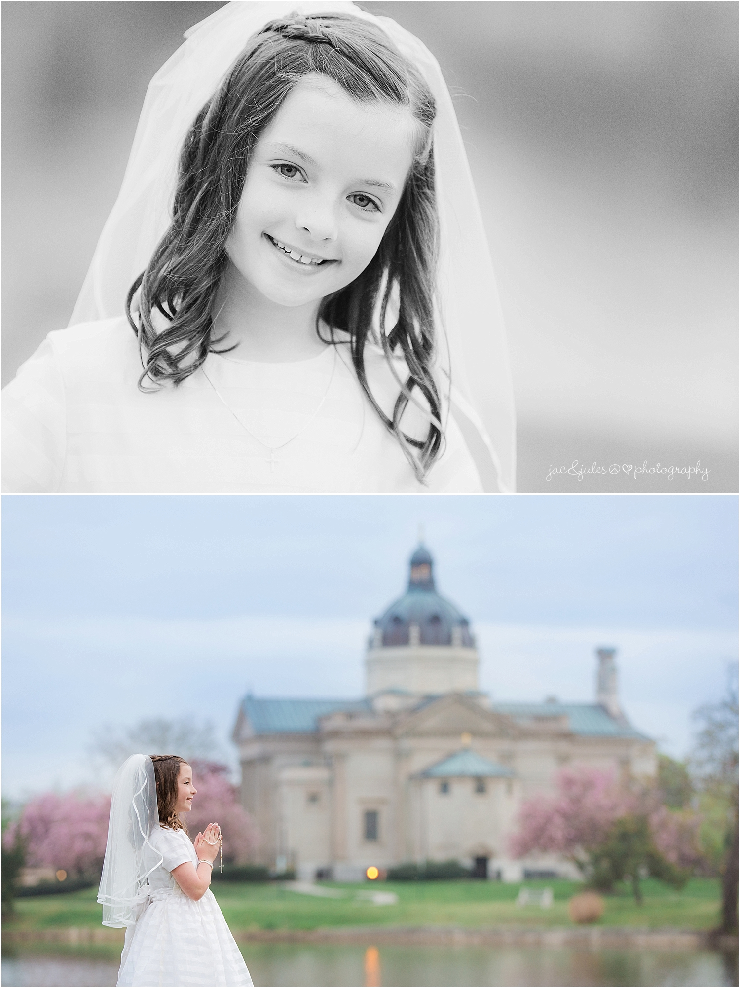 jacnjules photographs communion in Spring Lake NJ using the Cherry Blossoms at St. Catherine's Church