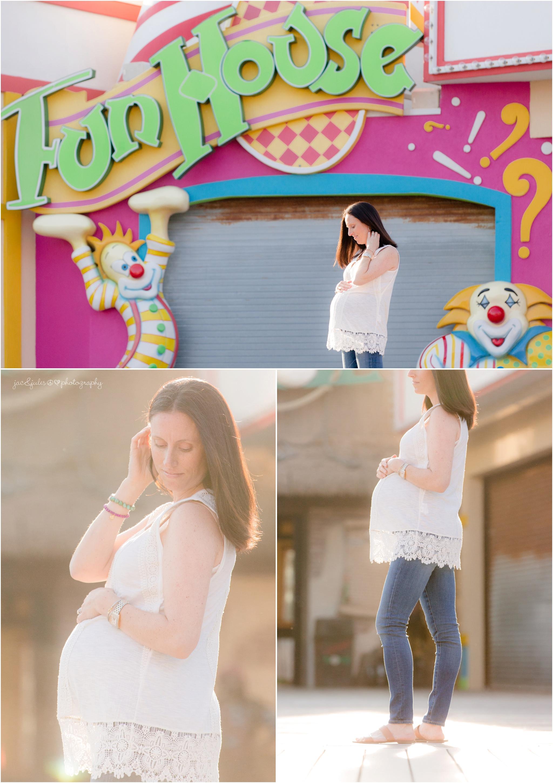 Pregnant Mom on point pleasant boardwalk.  Fun house maternity