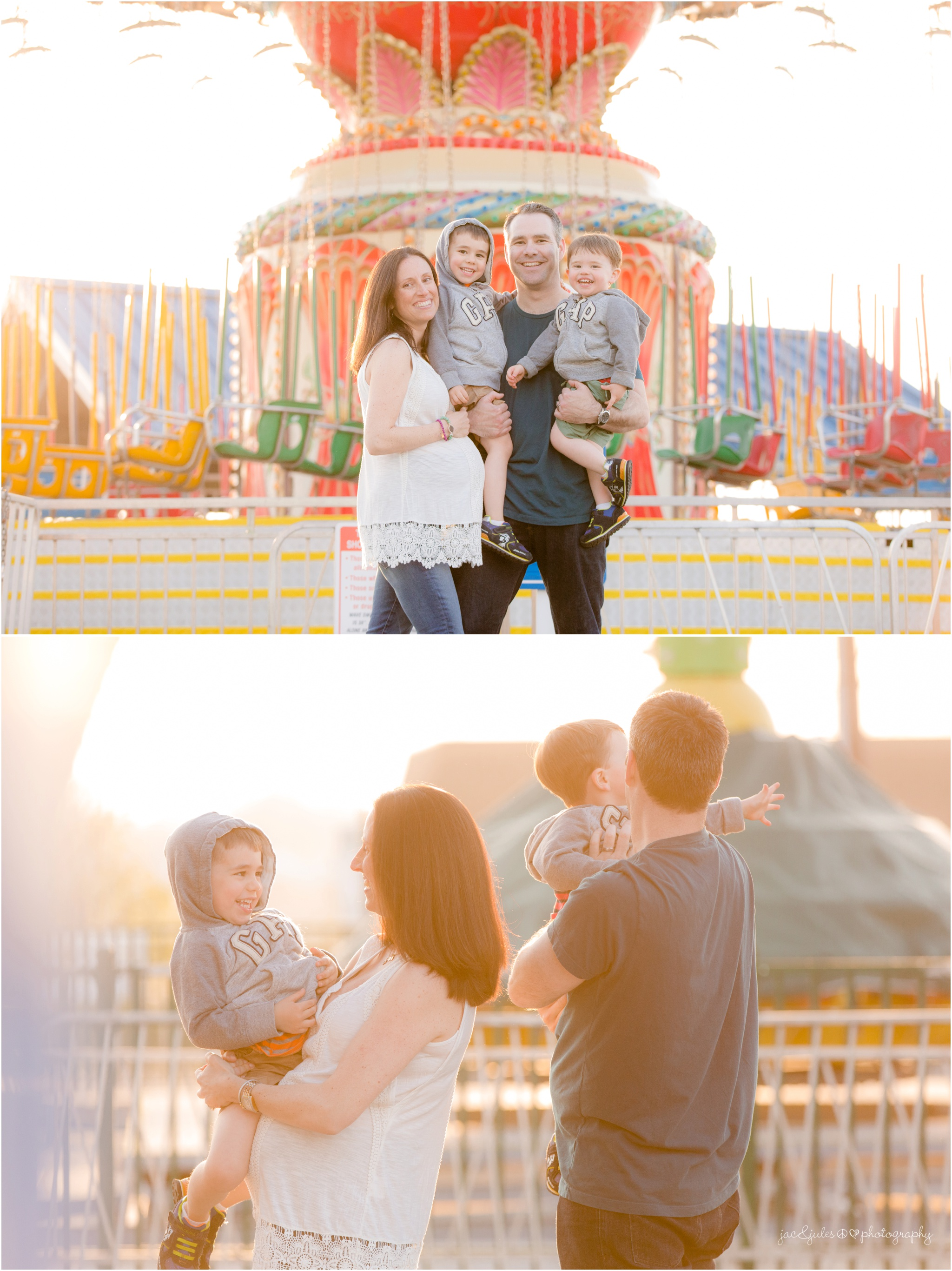 maternity photos with amusement park rides at point pleasant boardwalk