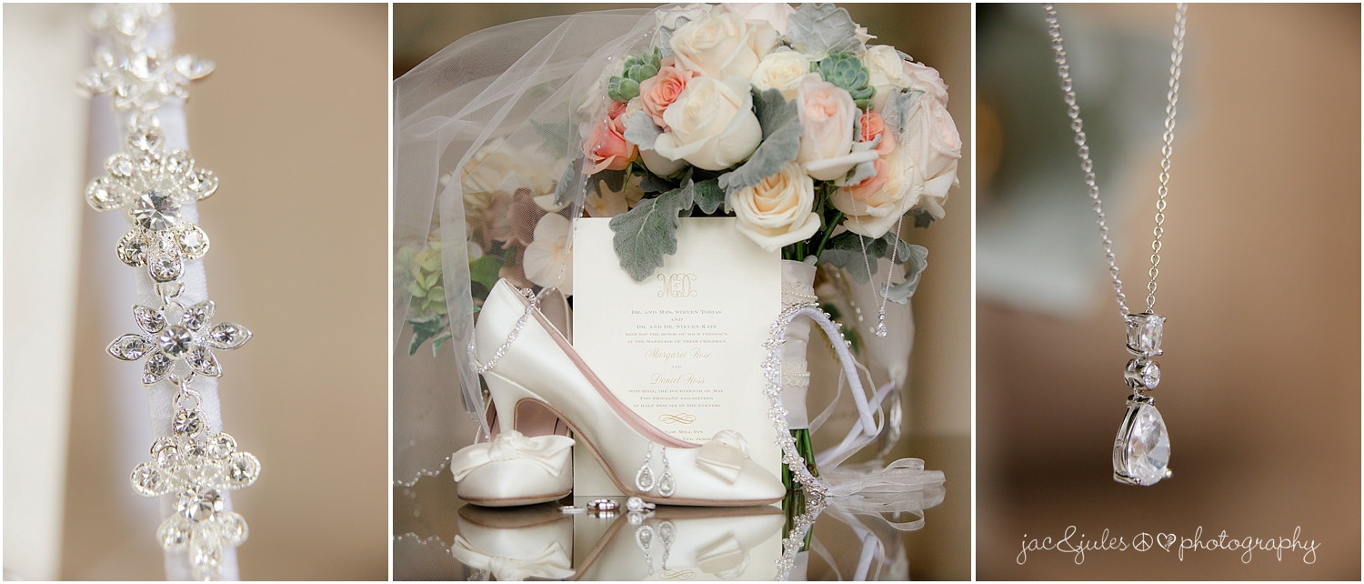 jacnjules photographs bridal bouquet, jewelry, and shoes at the olde mill inn