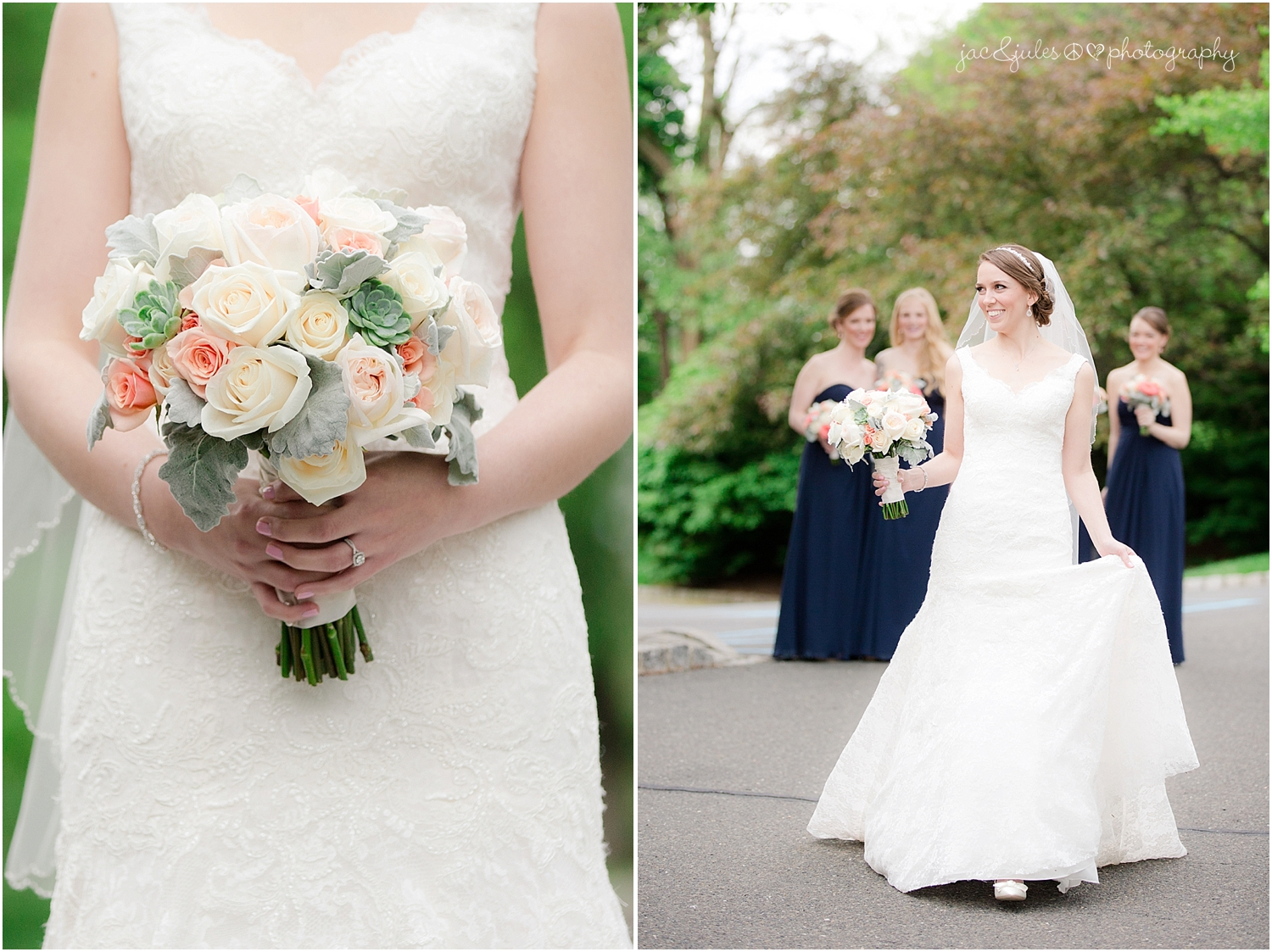jacnjules photographs a bride on her wedding day and her succulent bouquet at the olde mill inn in basking ridge nj
