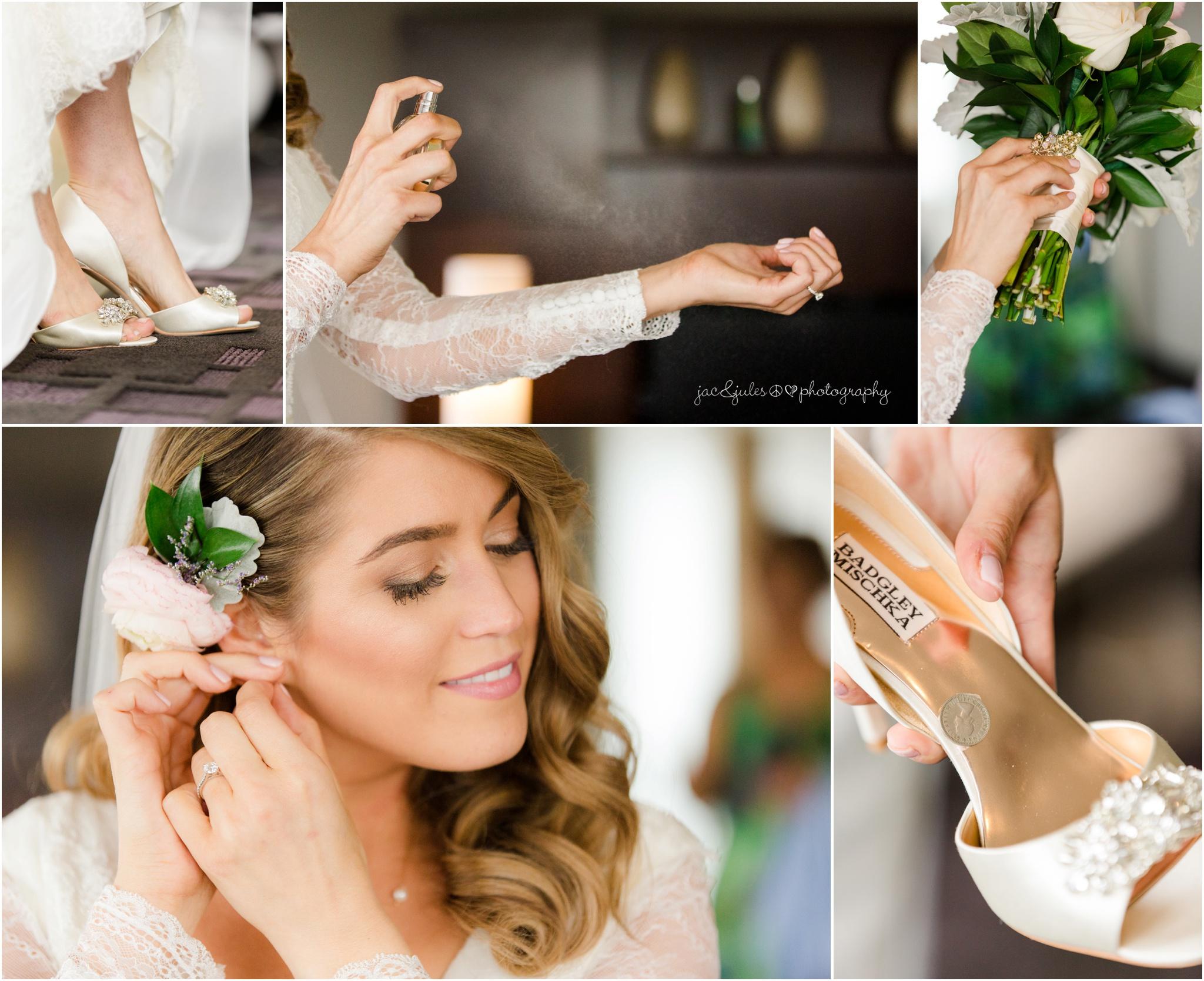bride prep details, shoes, earrings, spraying perfume