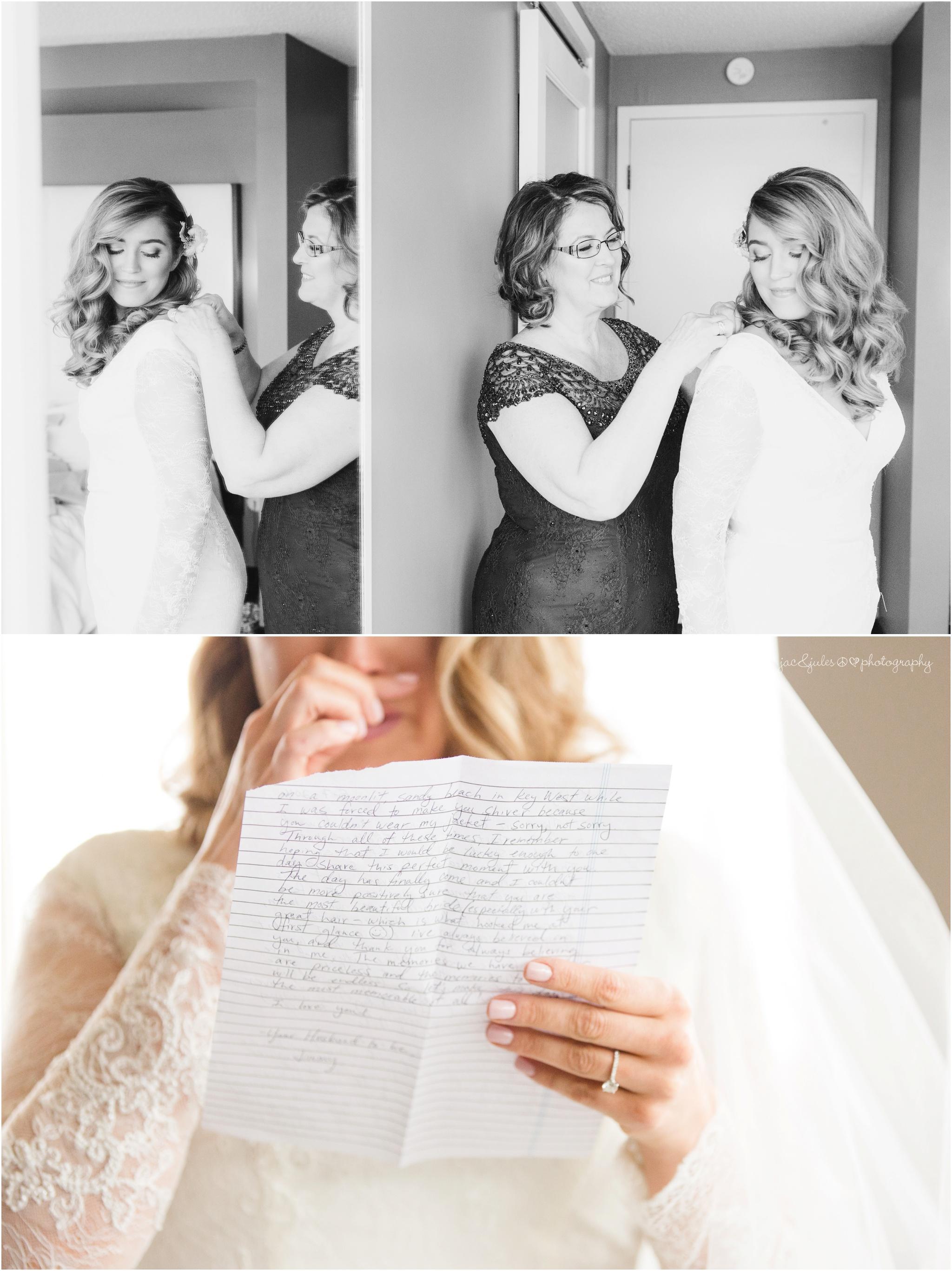 emotional bride reading letter from groom.